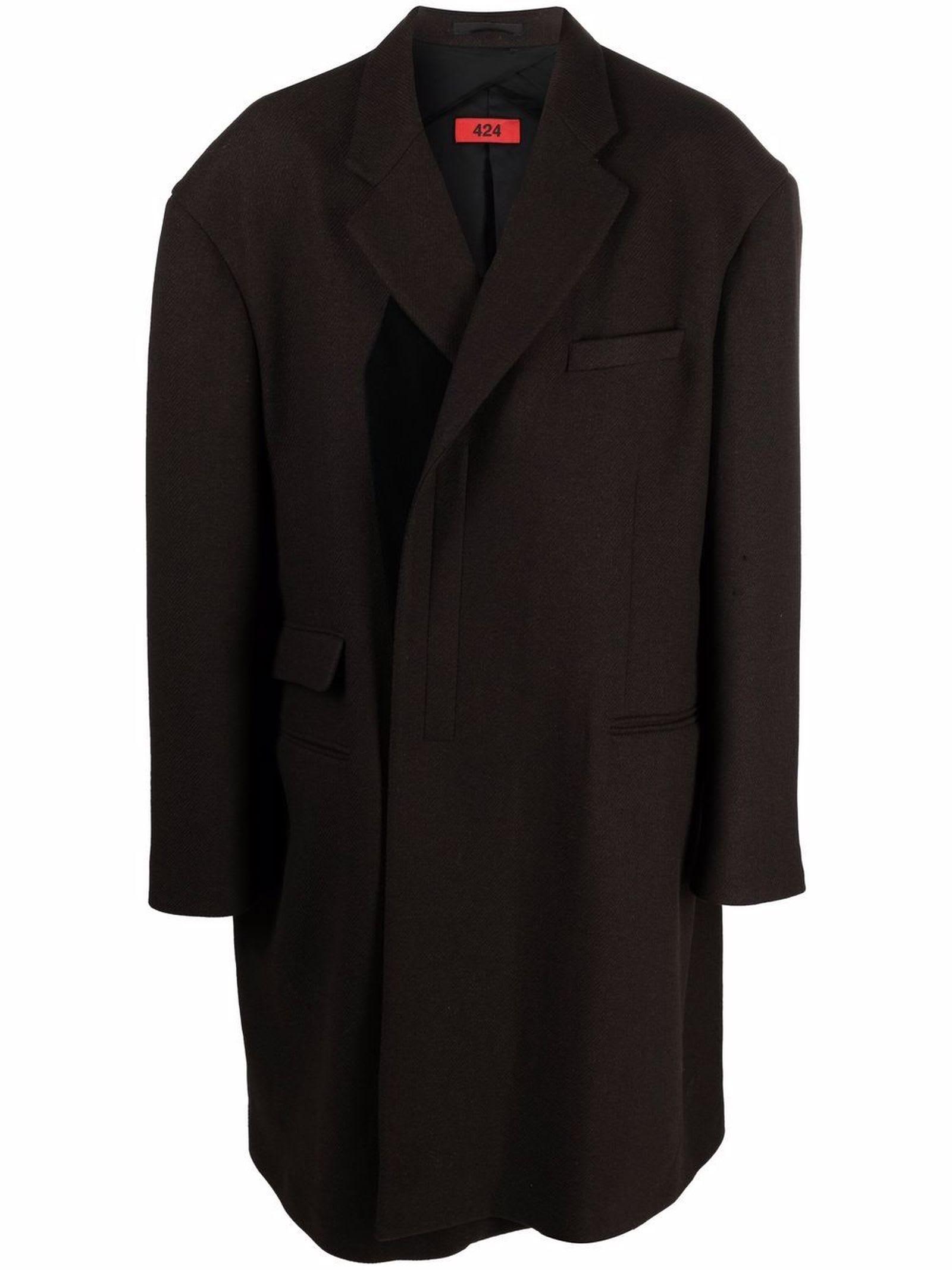 Brown Wool-cotton Blend Coat