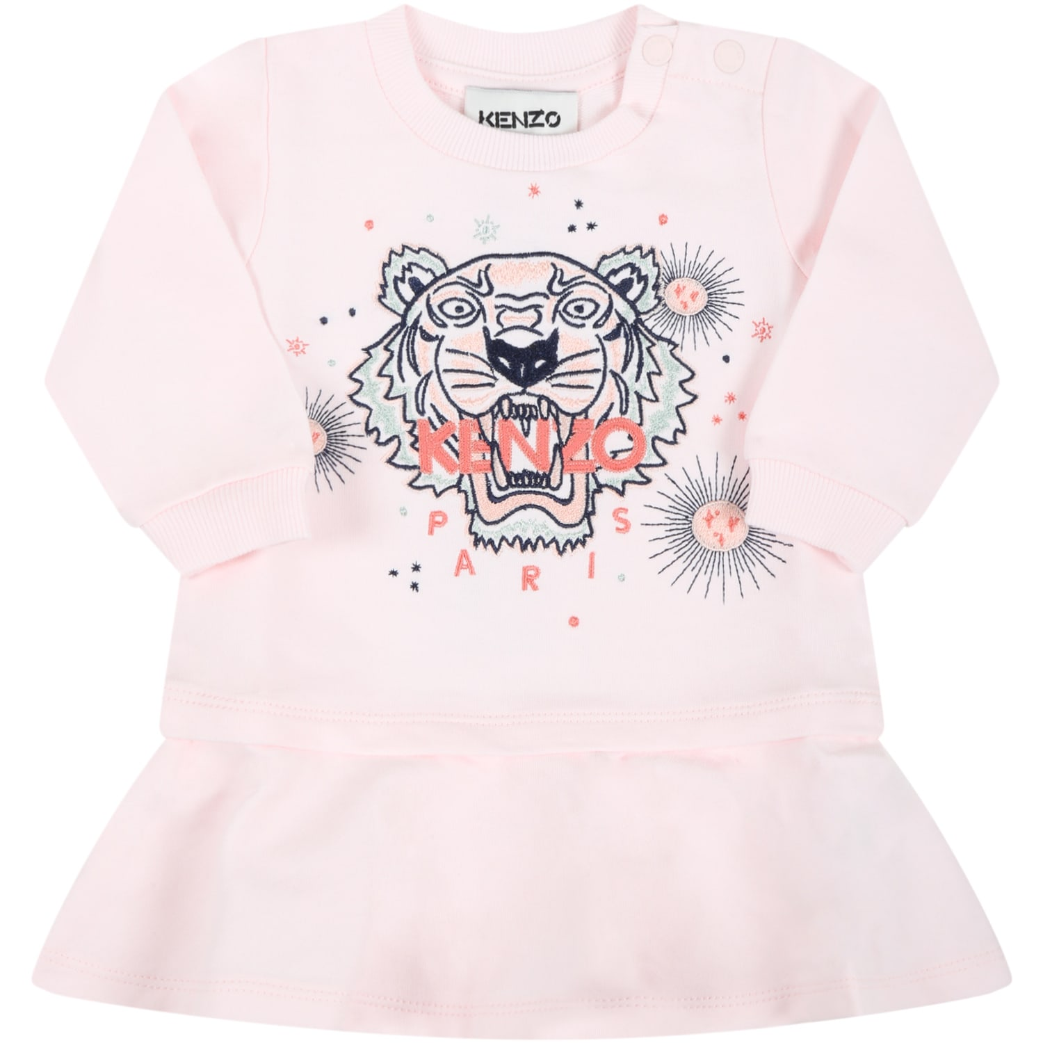 Pink Dress For Baby Girl With Iconic Tiger