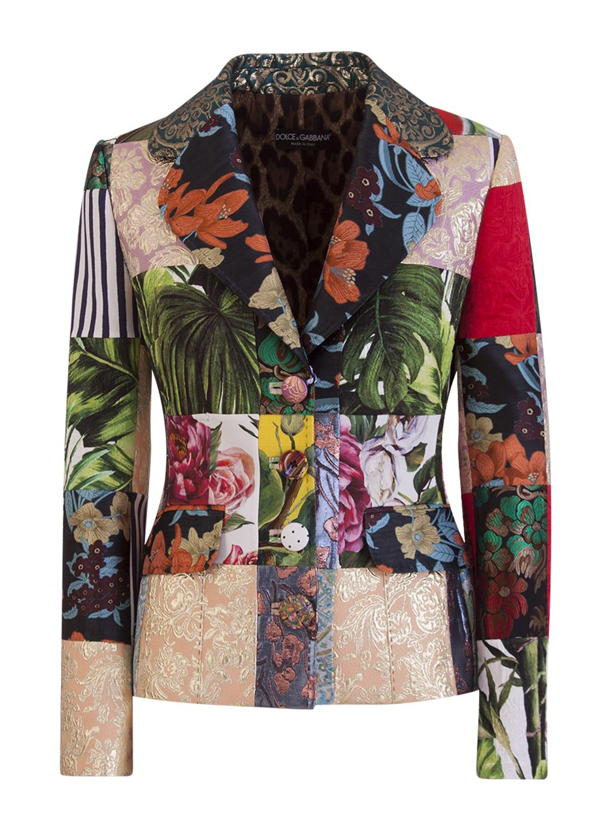 Dolce & Gabbana Coats DOLCE PATCHWORK-DETAIL BLAZER