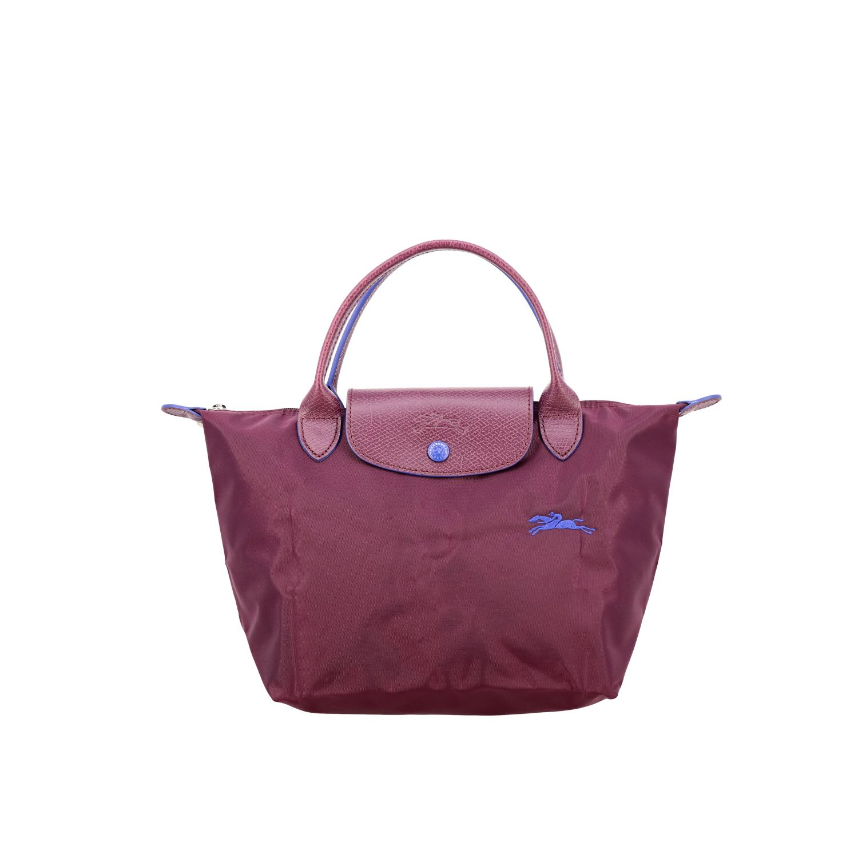 Longchamp Bag In Nylon With Logo In Plum