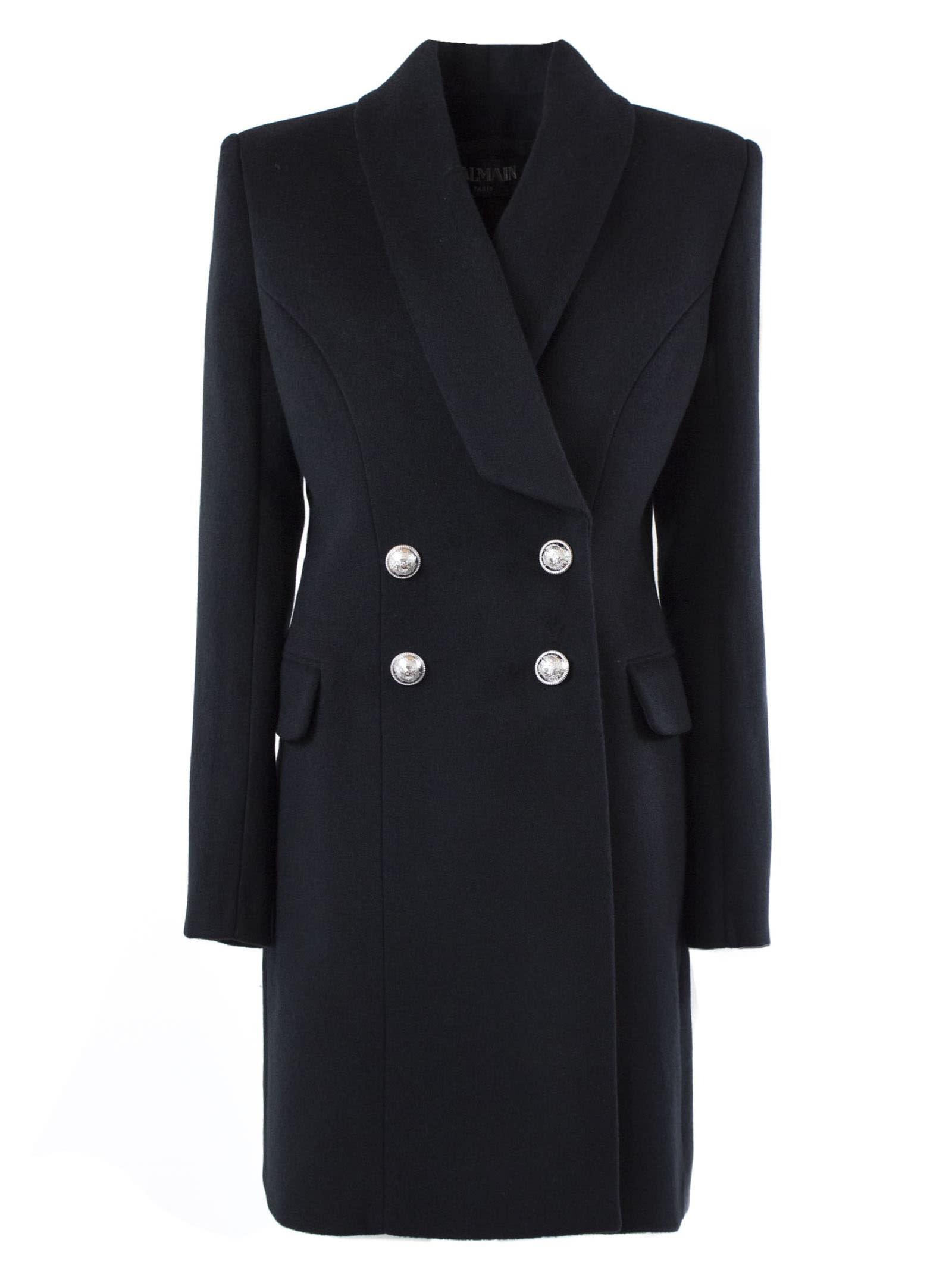 Balmain Black Wool Coat