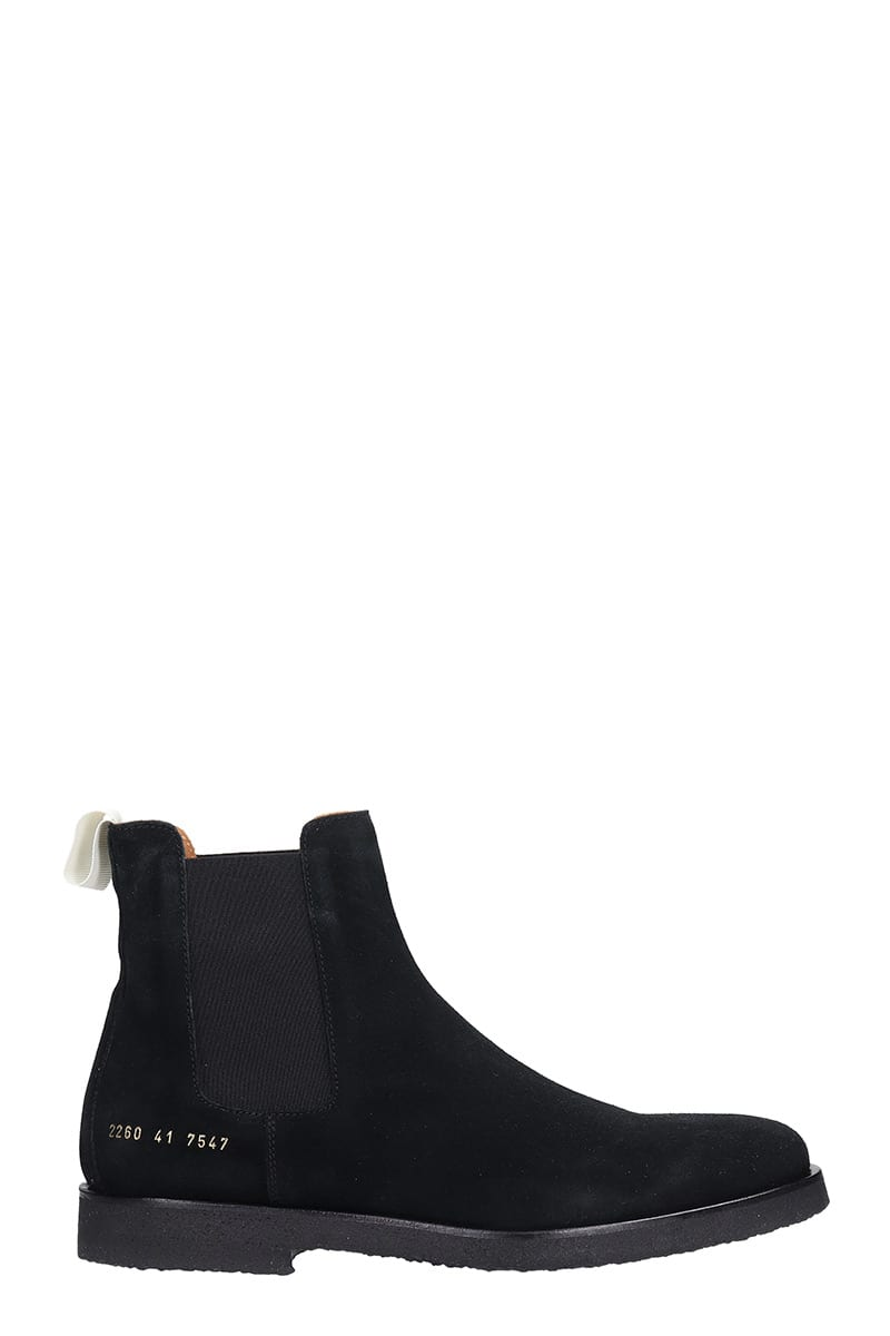 Common Projects Chelsea Boot Low Heels Ankle Boots In Black Suede