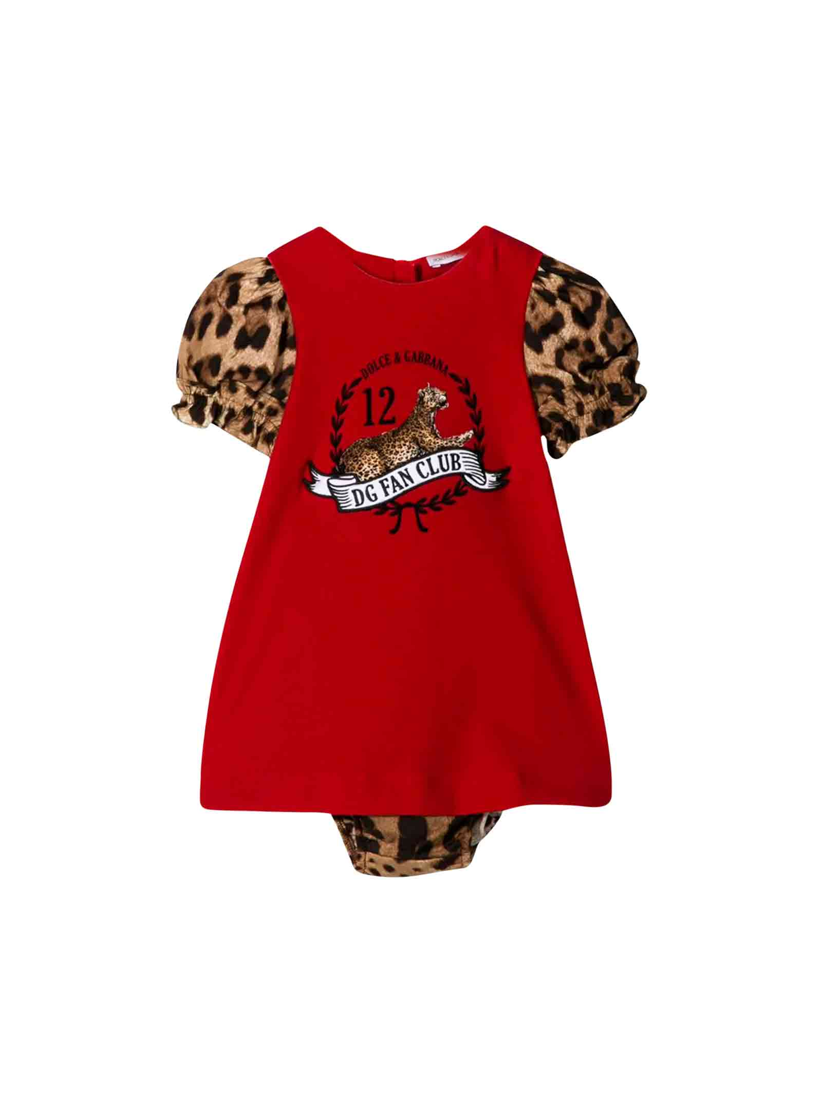 Dolce & Gabbana Red Dolce E Gabbana Kids Newborn Dress