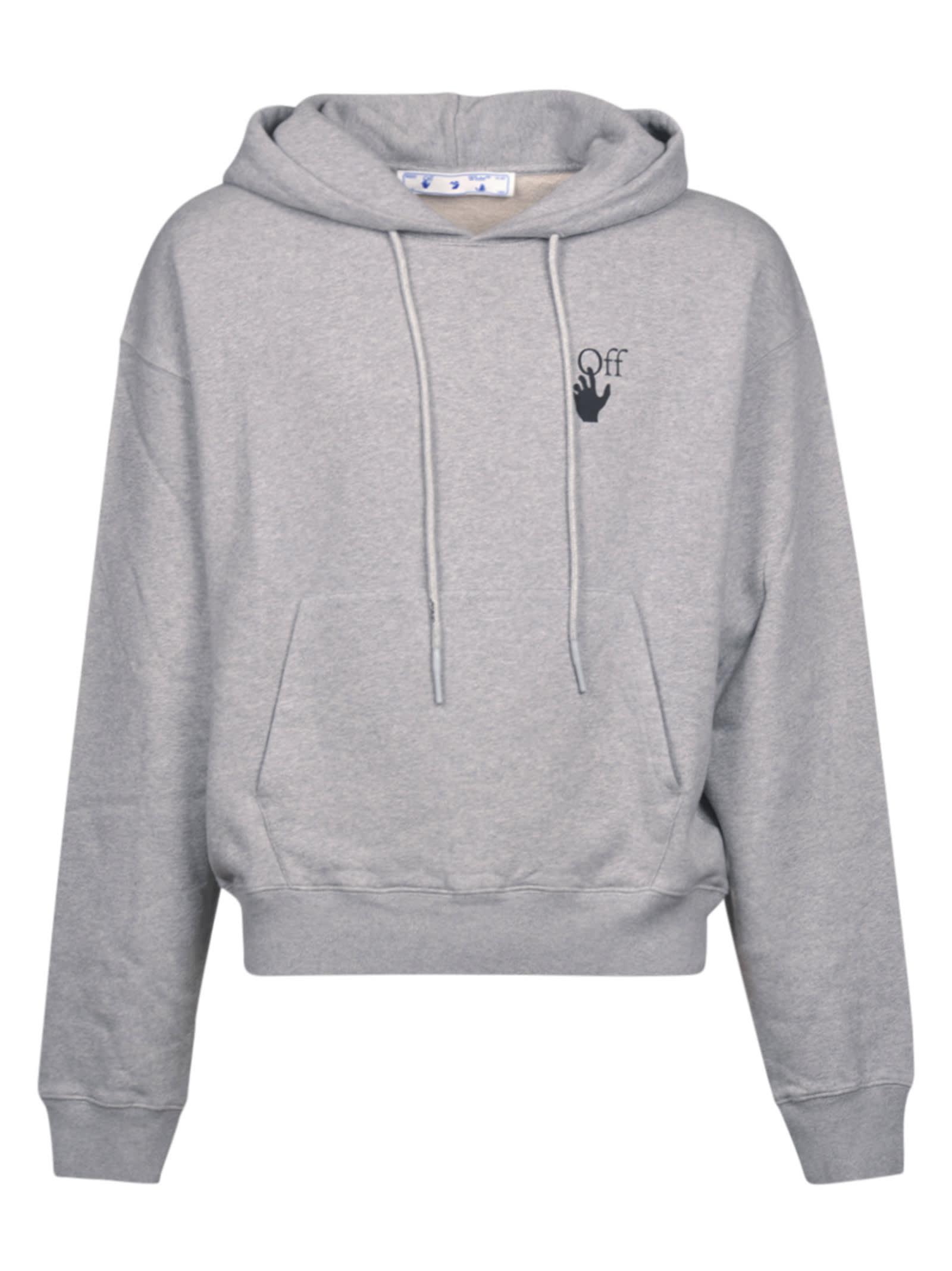 Off-white Degrade Arrow Oversized Hoodie In Grey Mélange