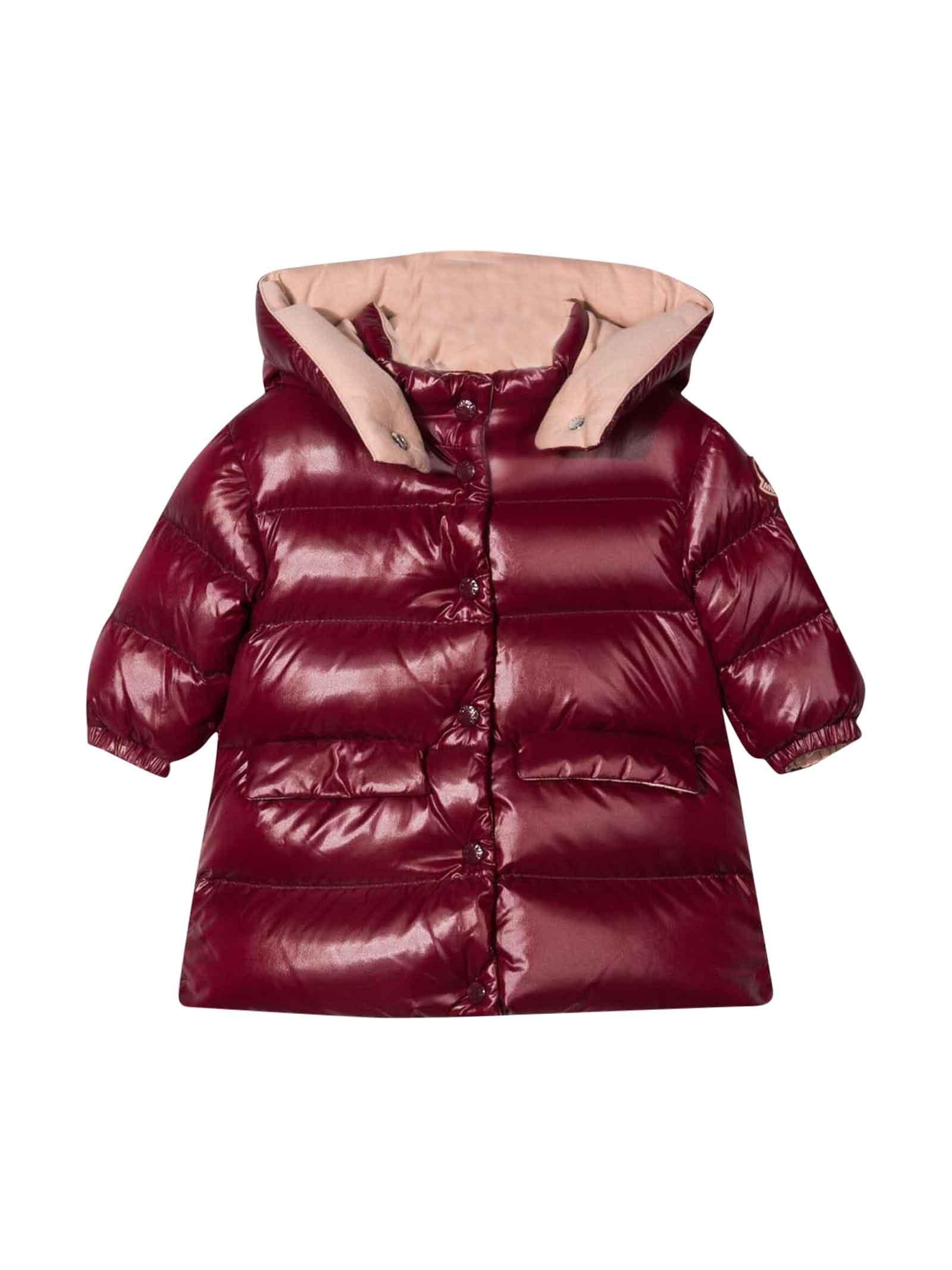 Moncler Moncler Enfant Baby Girl Dark Red Down Jacket