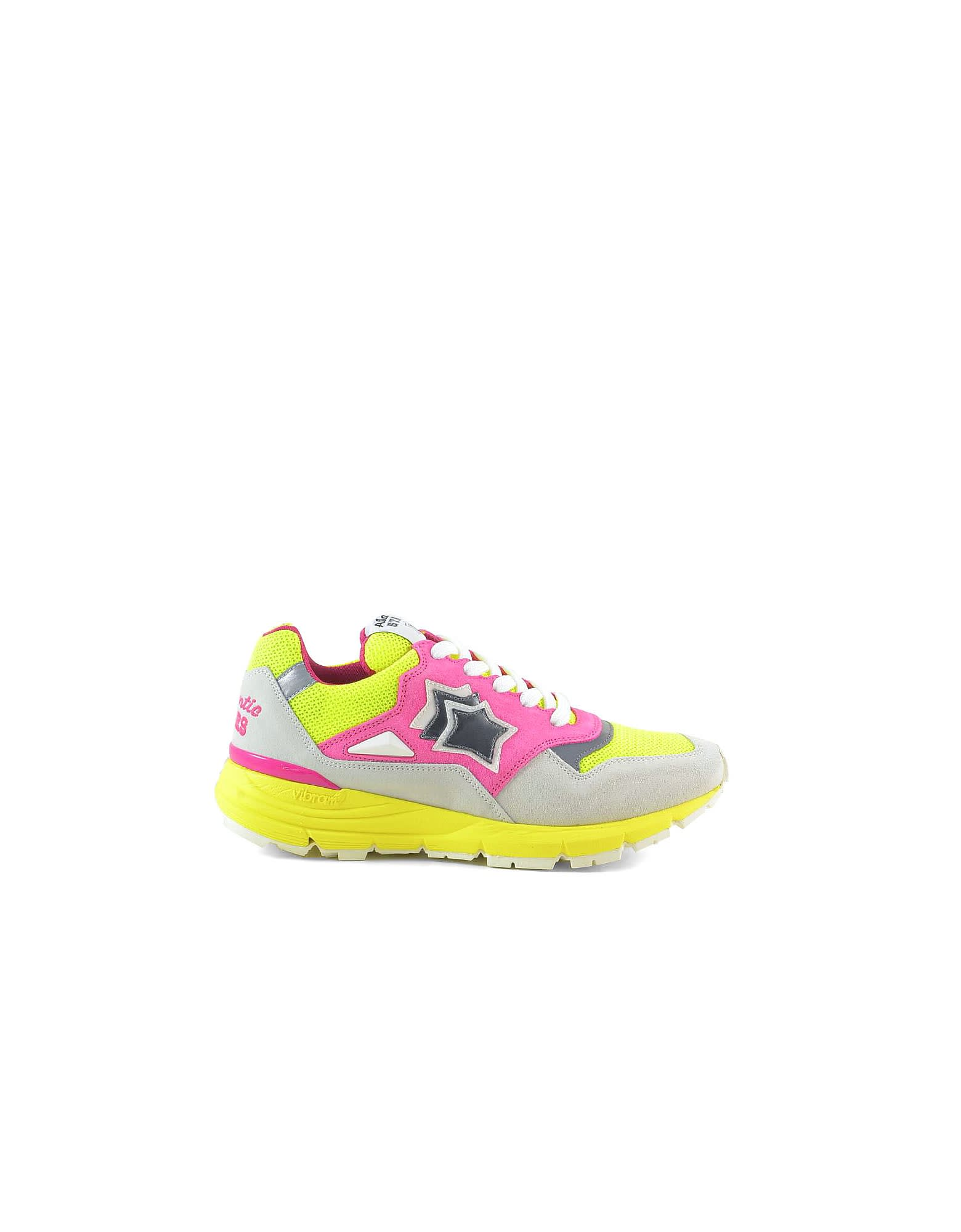 Pink And Gray Suede Sneakers W/yellow Rubber Sole