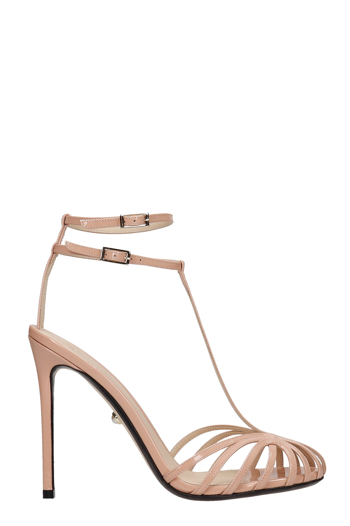 Alevì Sky highs STELLA 110 SANDALS IN POWDER PATENT LEATHER