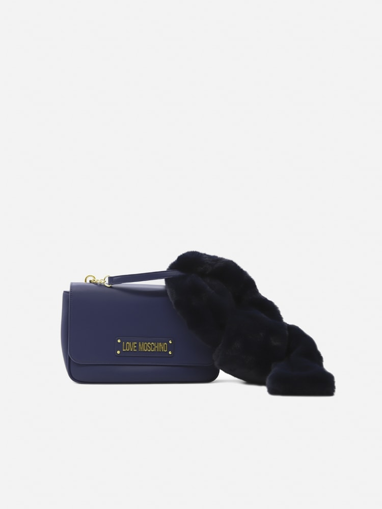 Love Moschino Bag With Logo Lettering And Eco-fur Detail In Blue