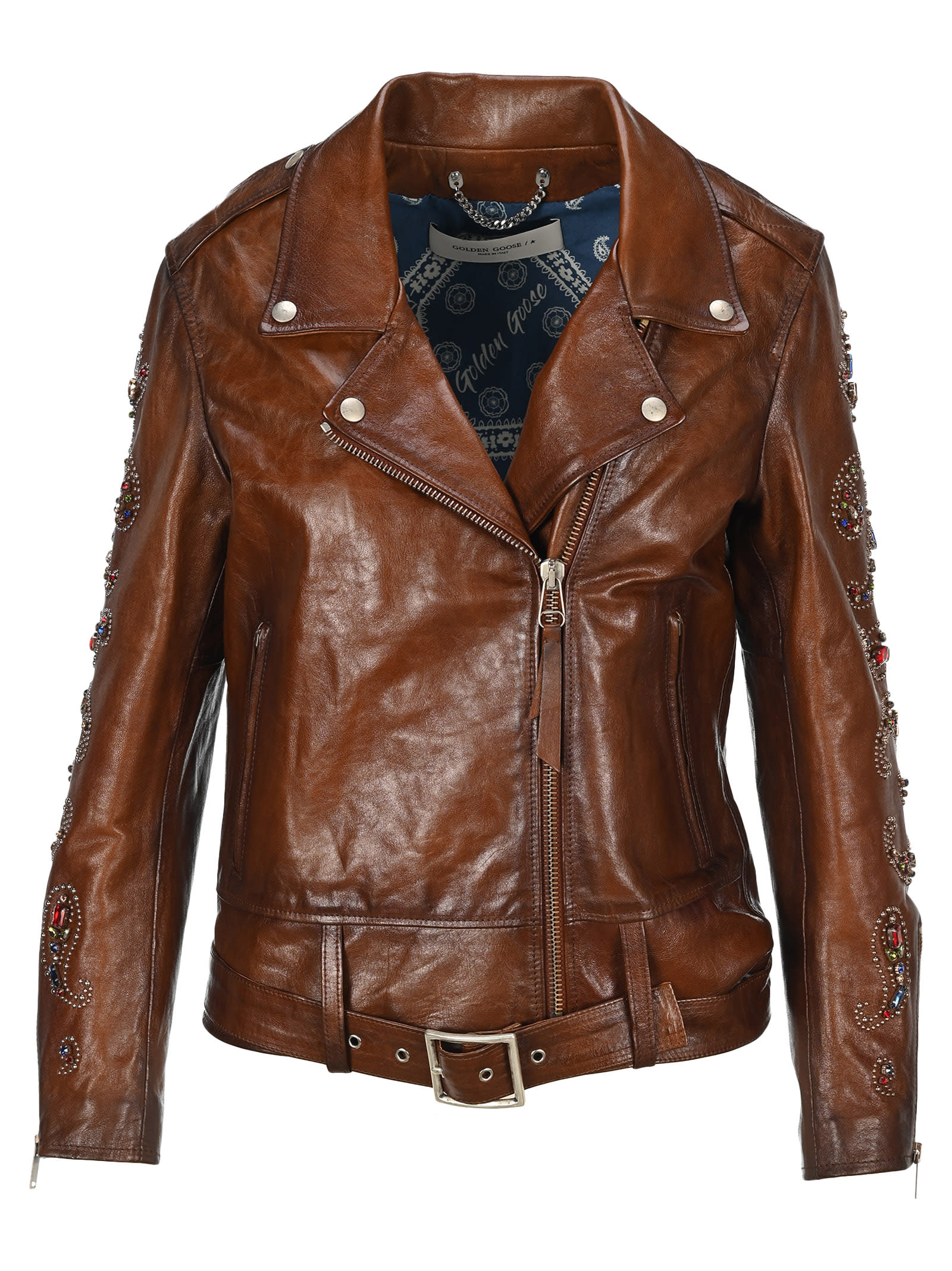 Dark Brown Leather Victoria Biker Jacket. Featuring: - Notched Lapels; - Off-centre Front Zip Fastening; - Side Zip Pockets; - Belted Hem; - Long Sleeves With Crystal And Stud Embellishments In A Paisley Pattern. Composition: 100% OVINE LEATHER - LINING:, 100% COTTON