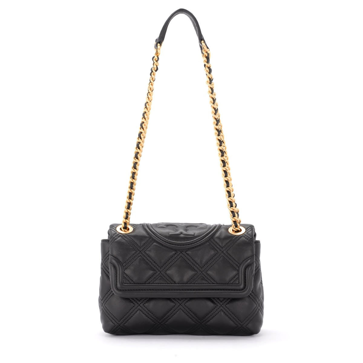 Tory Burch FLEMING SMALL SHOULDER BAG IN BLACK DIAMOND QUILTED LEATHER