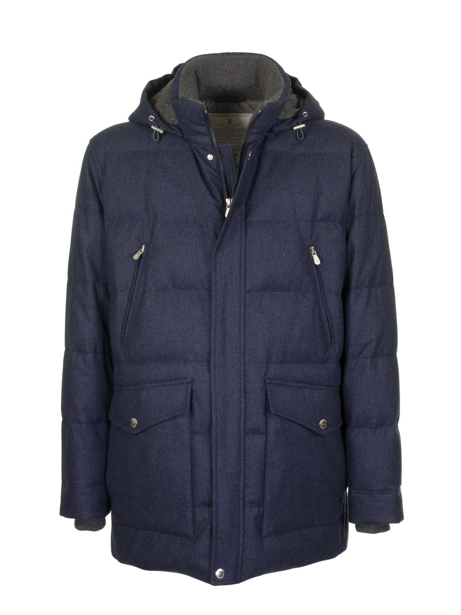 Brunello Cucinelli Water-resistant Lightweight Wool, Silk And Cashmere Flannel Down Jacket With Deta