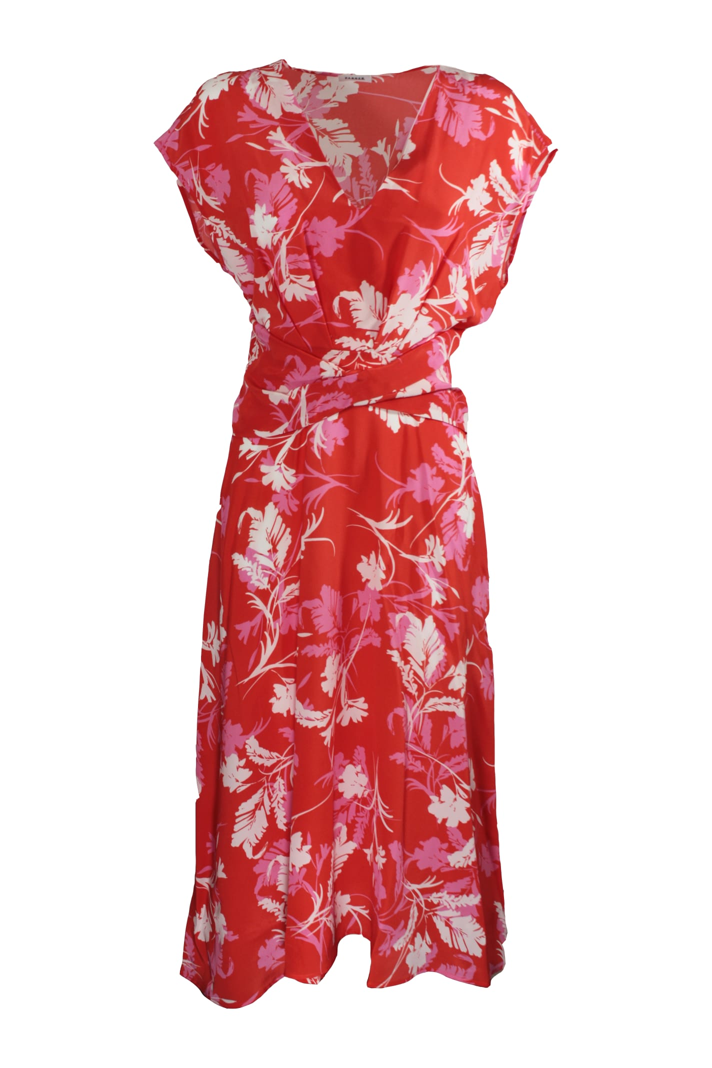 P.a.r.o.s.h. BELTED FLORAL PRINT LONG DRESS