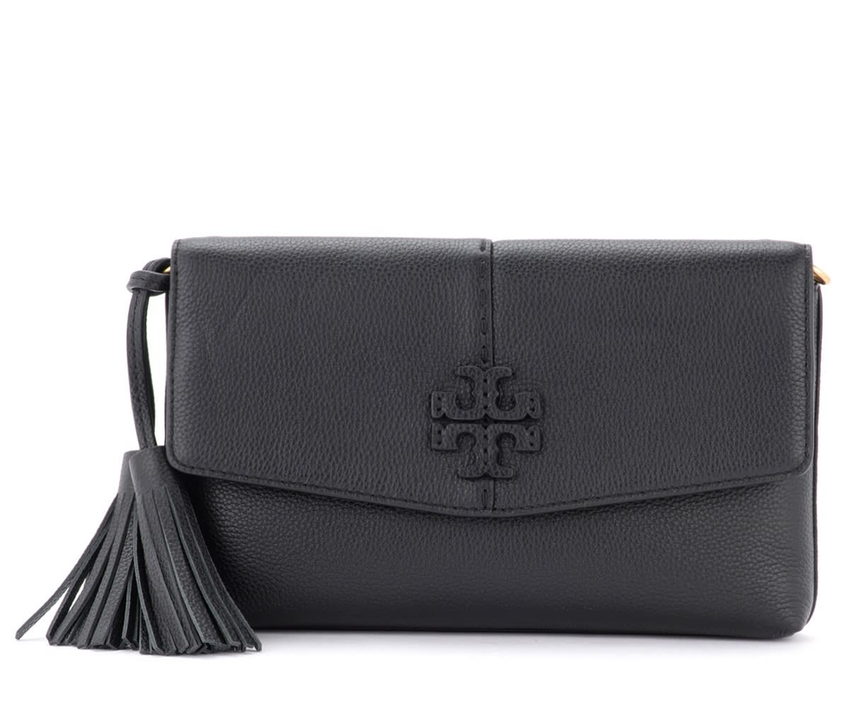 Tory Burch Mcgraw Shoulder Bag In Black Grained Leather With Tassels