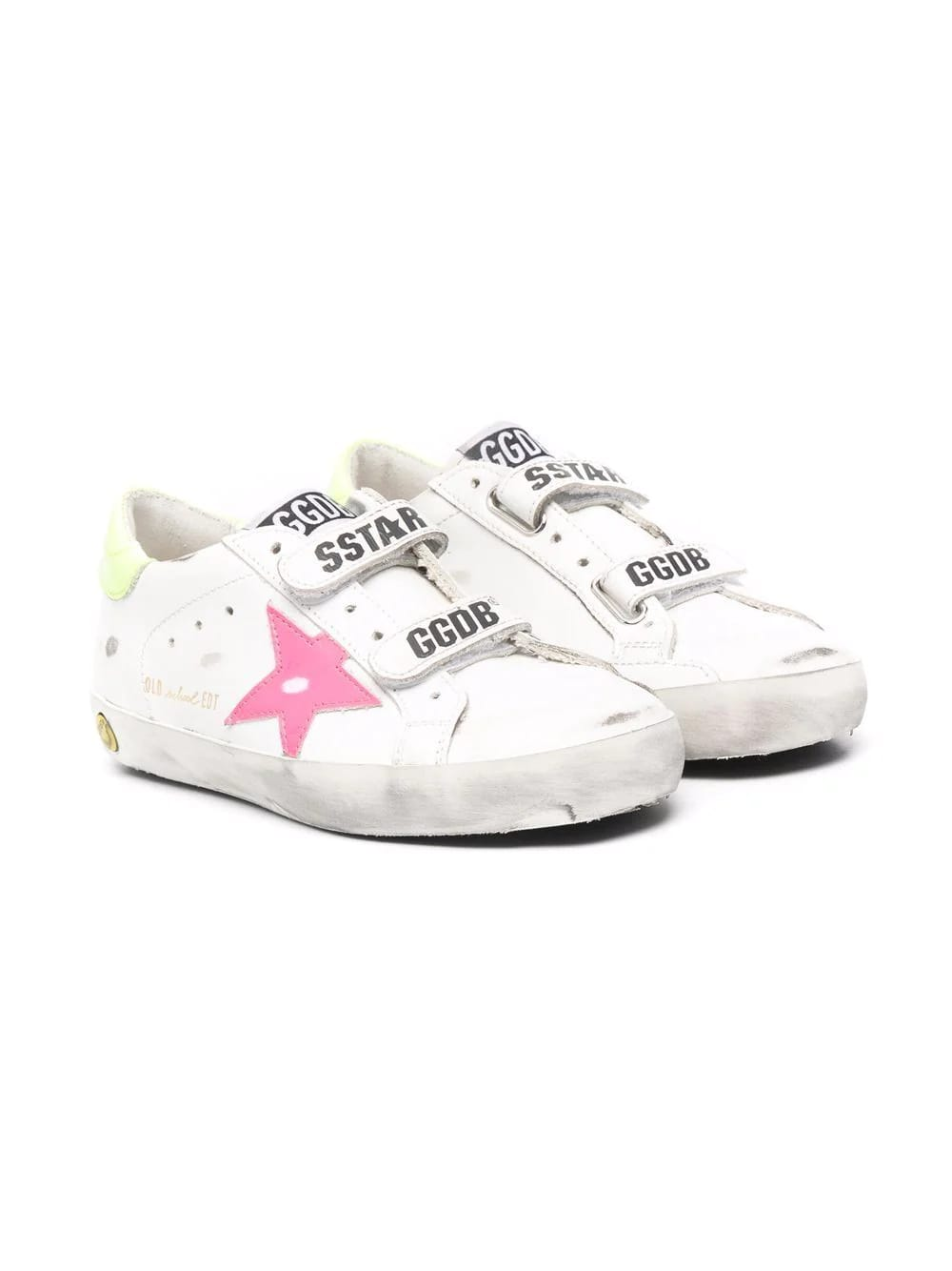 Golden Goose Junior White Super-star Sneakers With Fluo Details And Velcro Closure