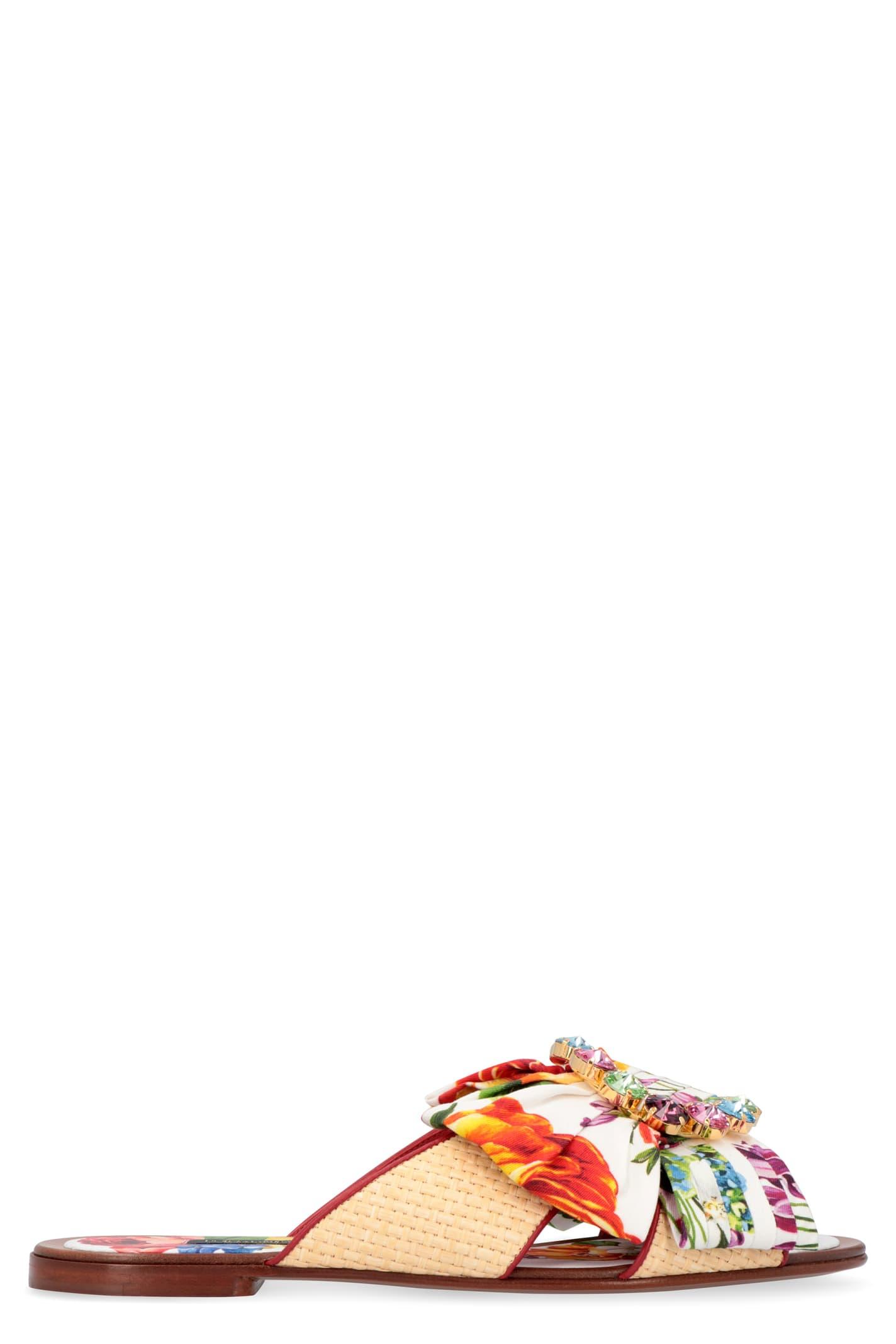 Dolce & Gabbana Embellished Buckle Flat Sandals In Multicolor