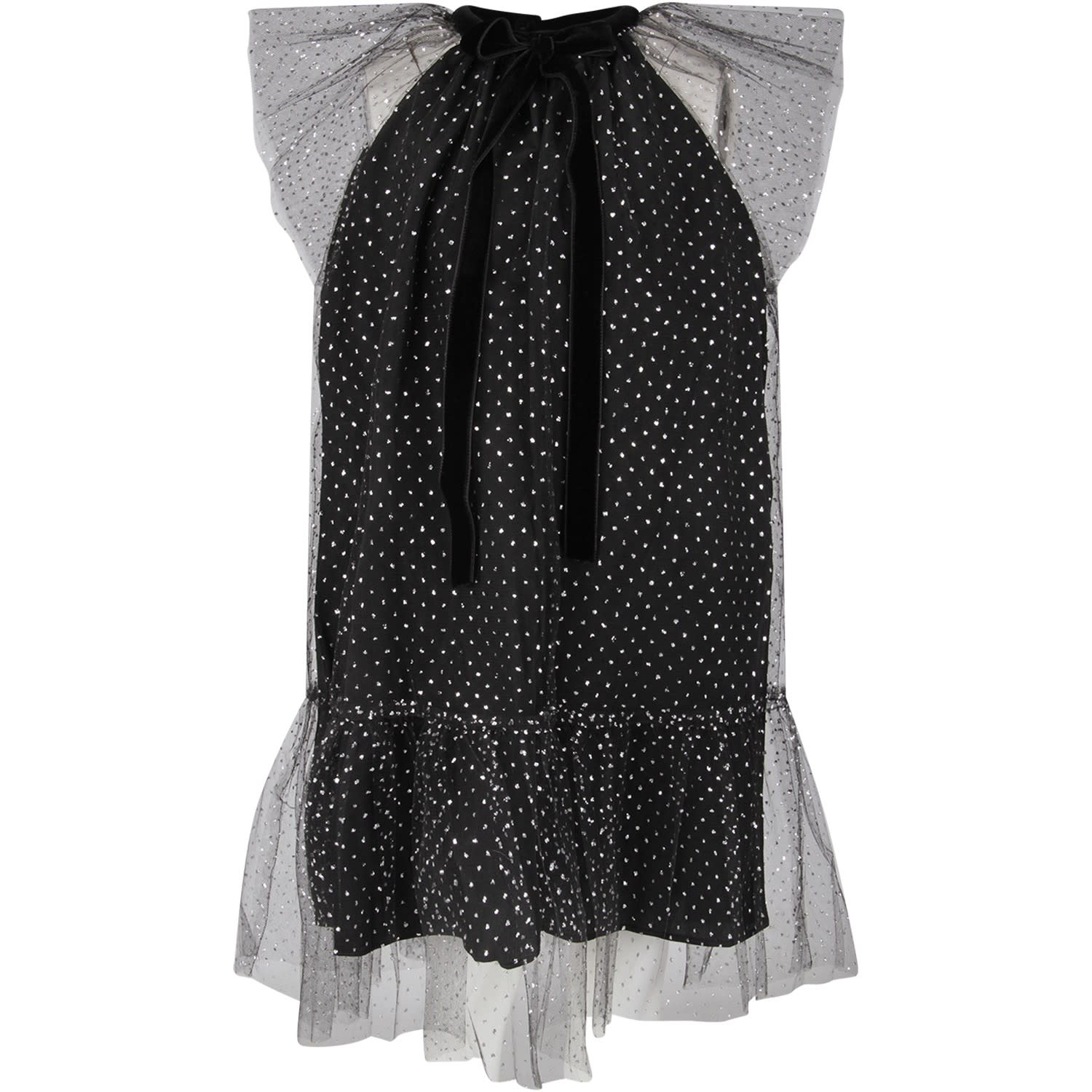 Oscar de la Renta Black Girl Dress With Silver Polka-dots