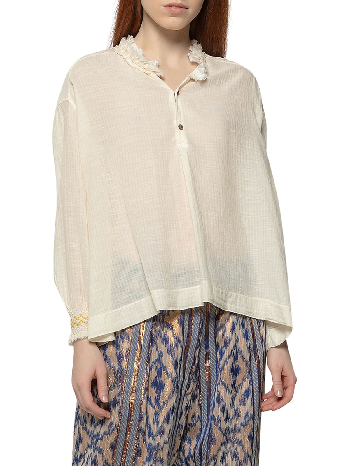 FORTE FORTE GAUZE SHIRT WITH EMBROIDERY
