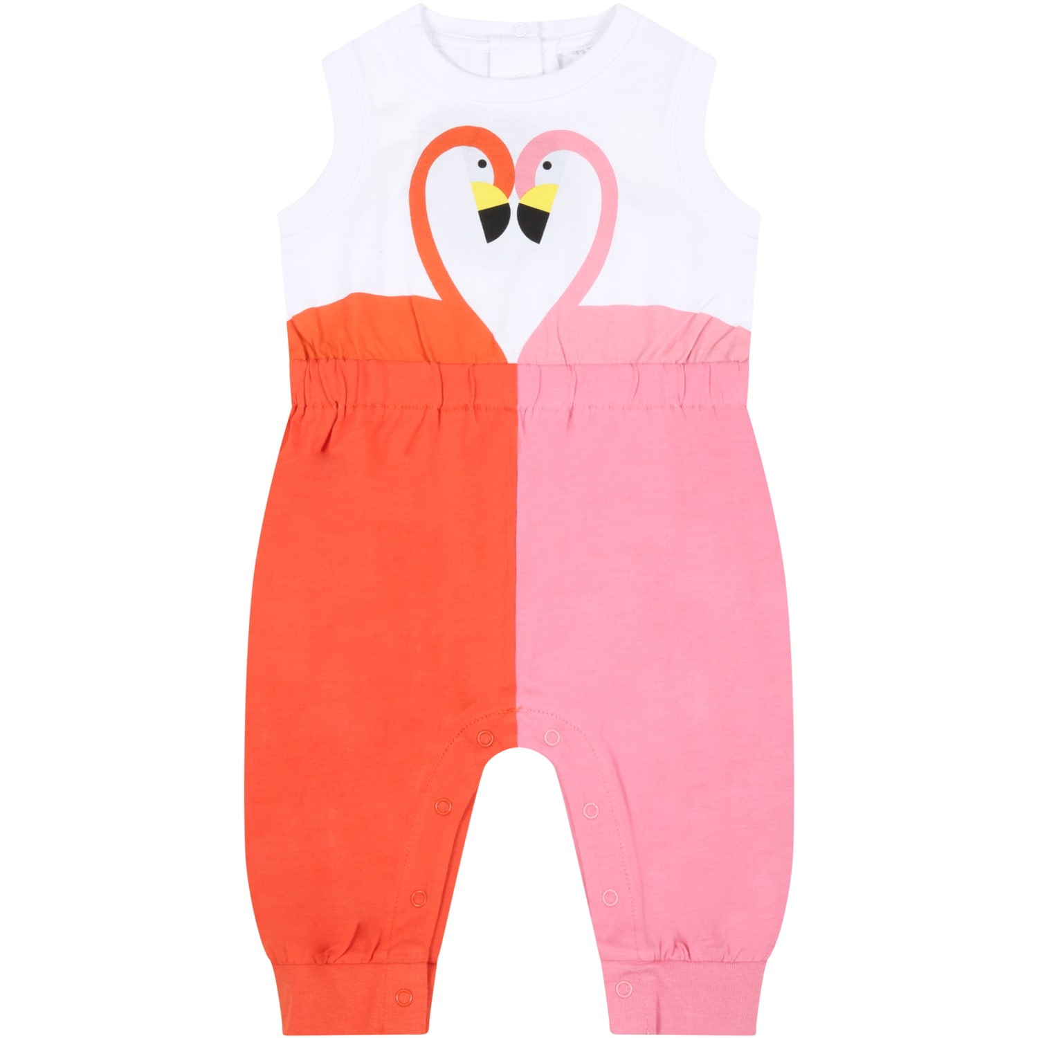 Stella Mccartney Cottons MULTICOLOR JUMPSUIT FOR BABYGIRL WITH FLAMINGOS