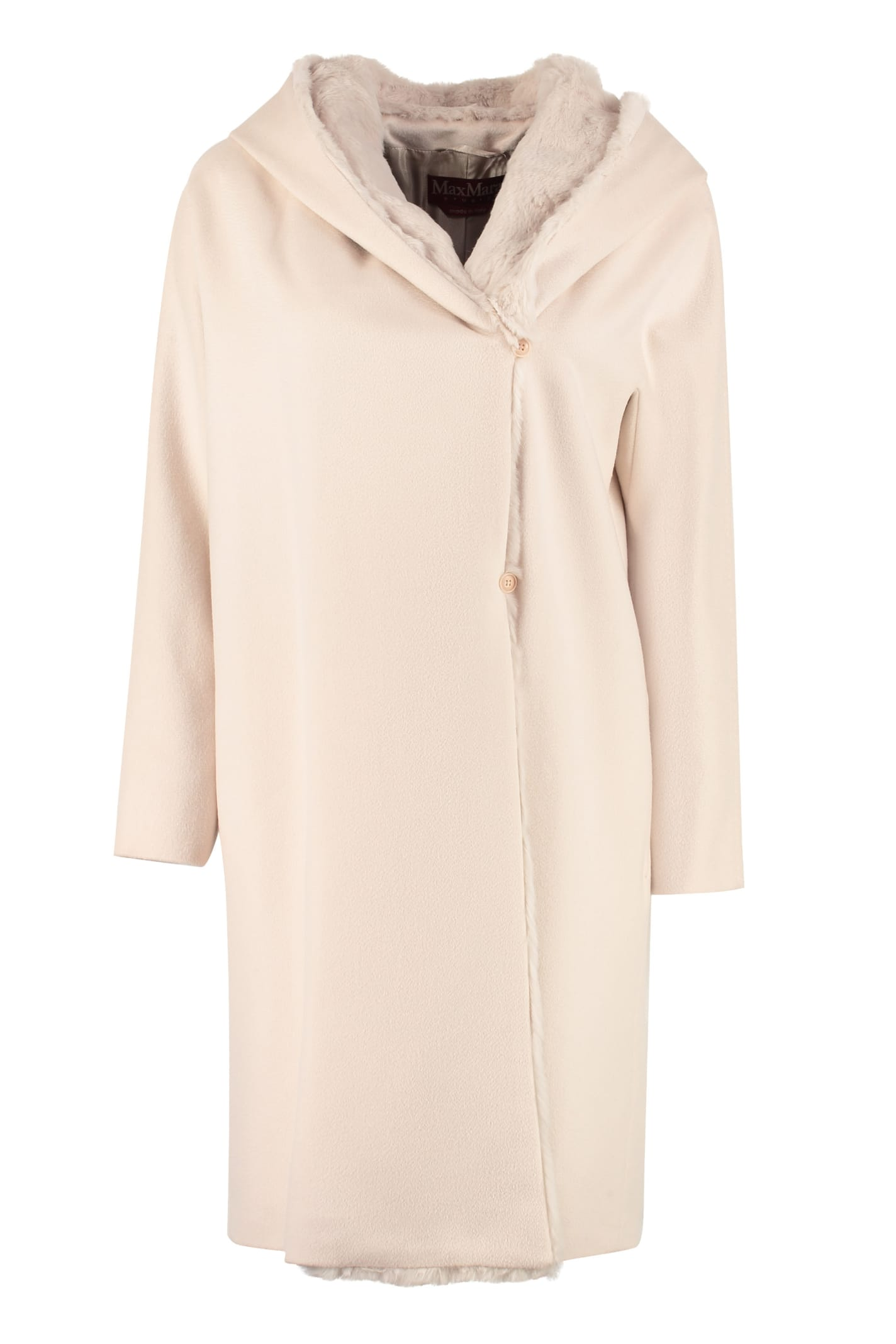 Max Mara Studio Ceylon Virgin Wool Coat With Fur