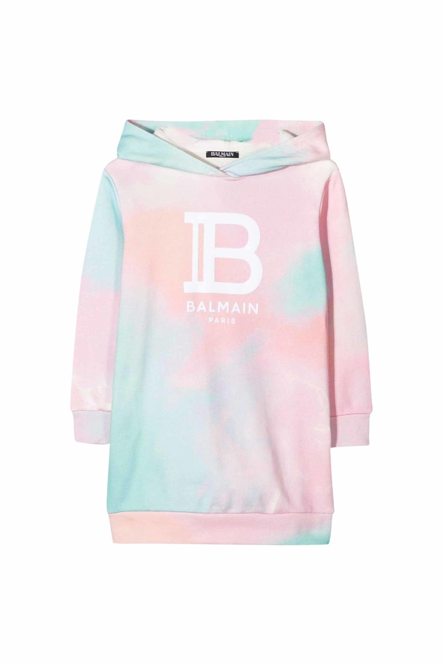 Buy Balmain Tie Dye Cotton Dress With Hood online, shop Balmain with free shipping