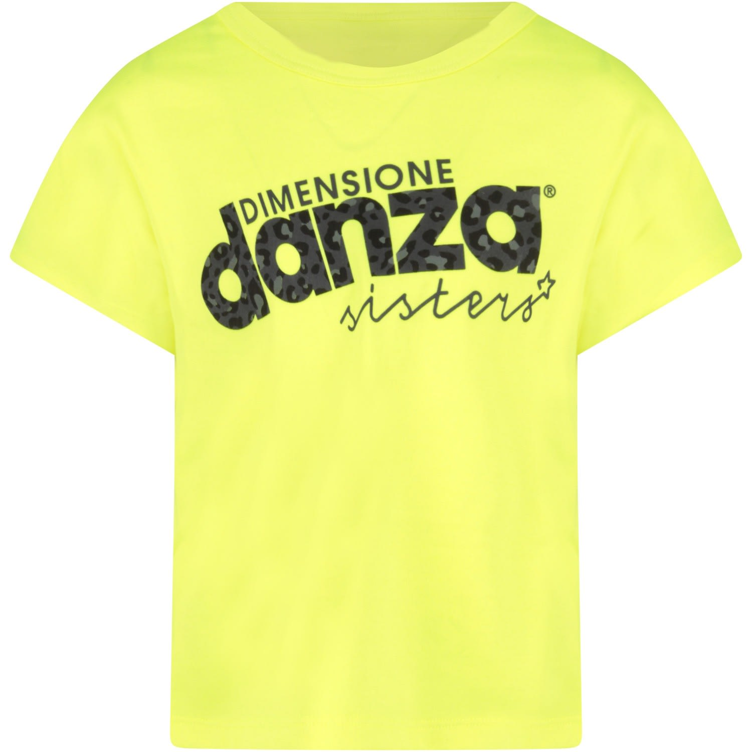 Neon Yellow T-shirt With Animalier Logo For Girl