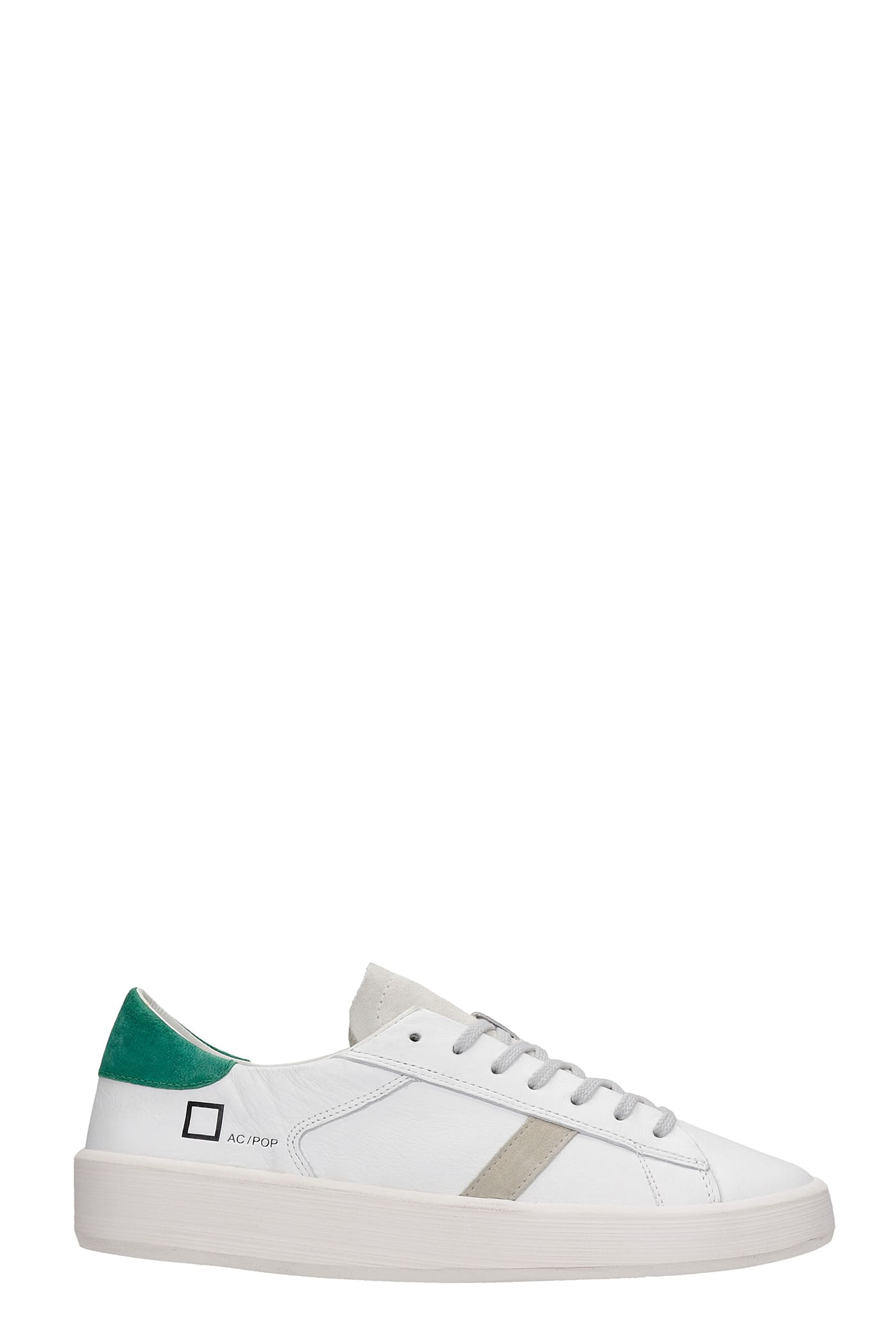 D.a.t.e. Leathers ACE SNEAKERS IN WHITE LEATHER