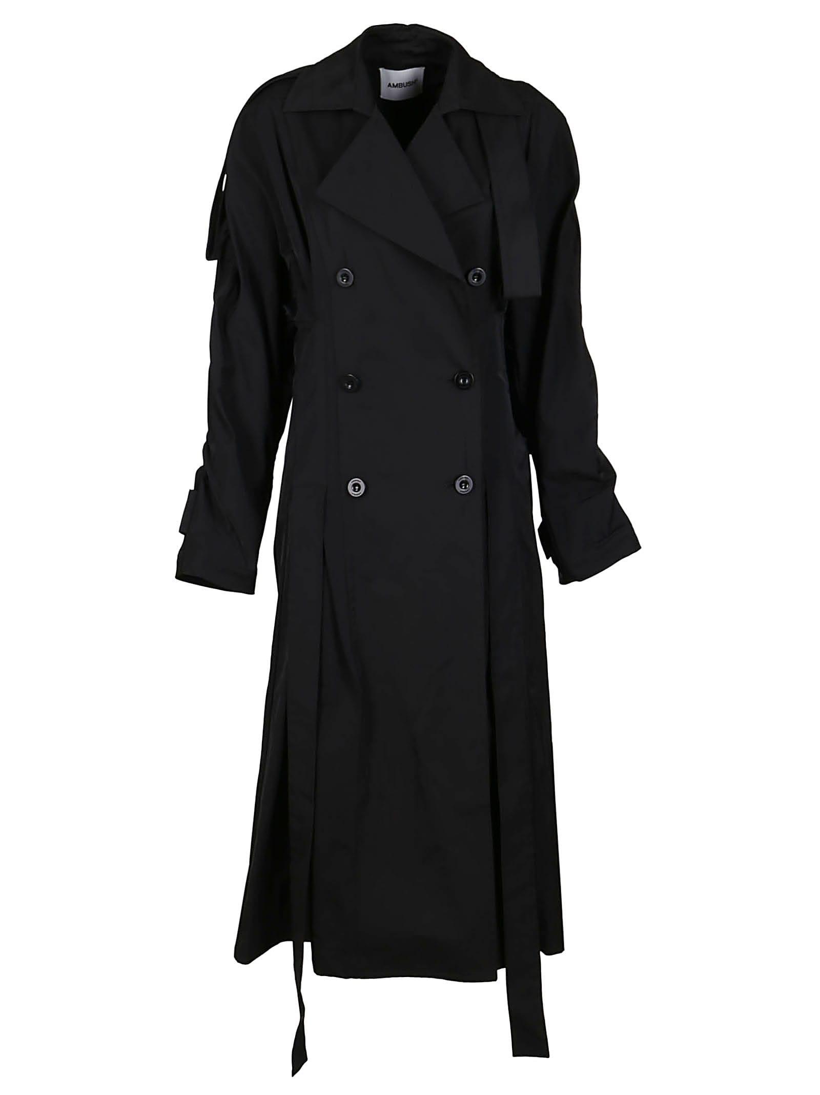 Ambush Coats BLACK COTTON BLEND TRENCH COAT