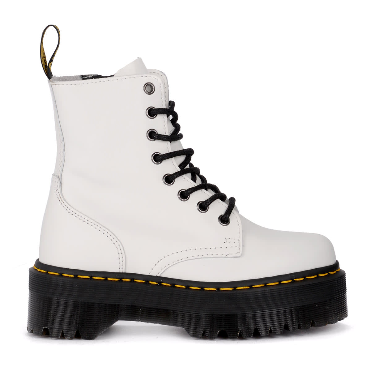a0a055ae5d4 Dr. Martens Jadon White Leather Ankle Boots With Maxi Sole