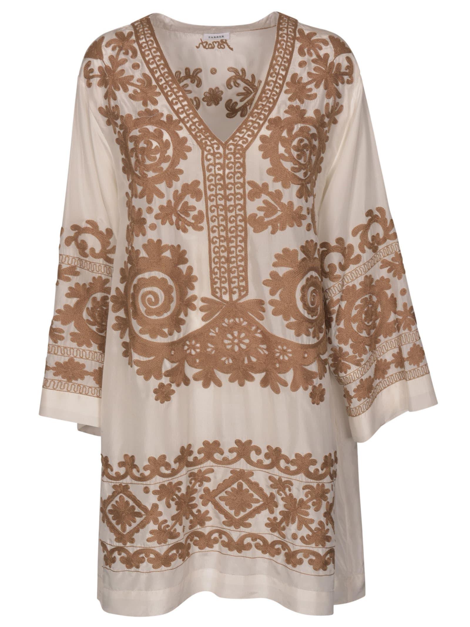 Buy Parosh V-neck Printed Dress online, shop Parosh with free shipping