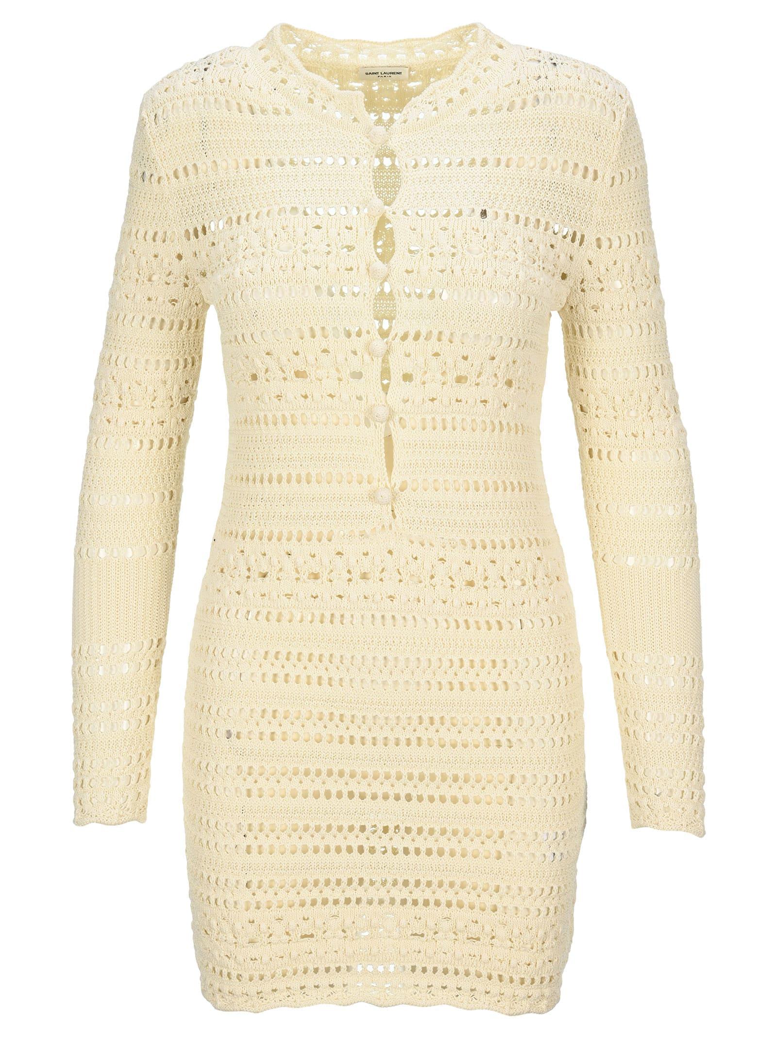 Buy Saint Laurent Jane Crochet Dress online, shop Saint Laurent with free shipping