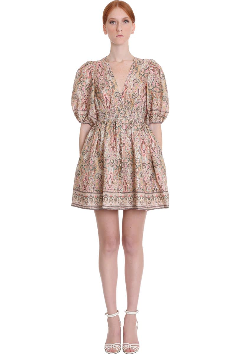 Buy Zimmermann Freaja Shirred Dress In Multicolor Cotton online, shop Zimmermann with free shipping
