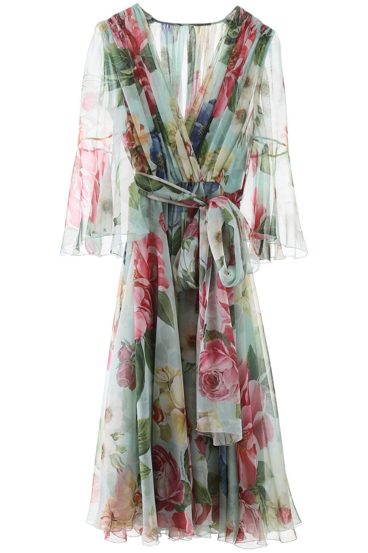 Buy Dolce & Gabbana Floral Chiffon Dress online, shop Dolce & Gabbana with free shipping
