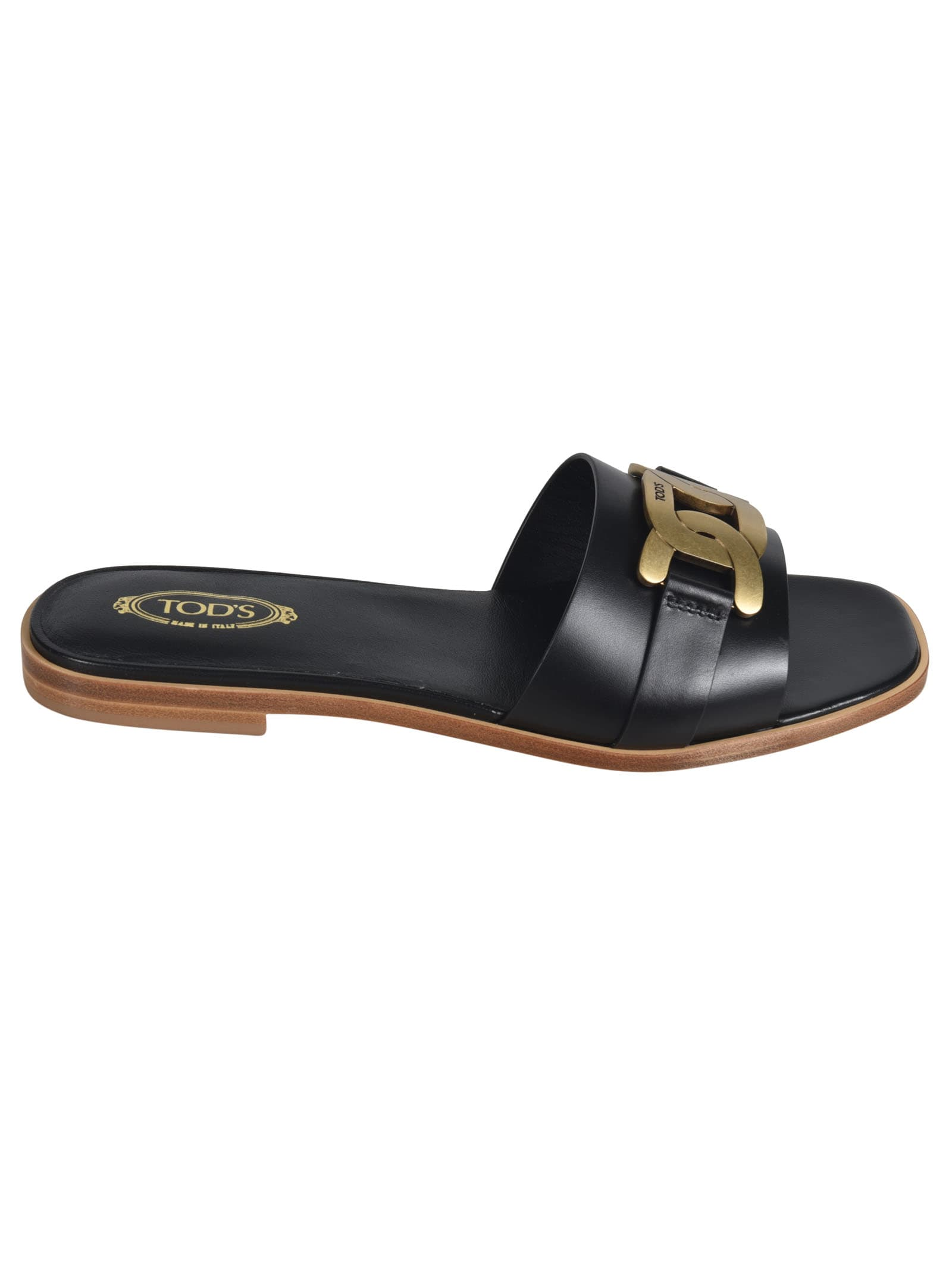 Buy Tods Logo Plaque Flat Sandals online, shop Tods shoes with free shipping