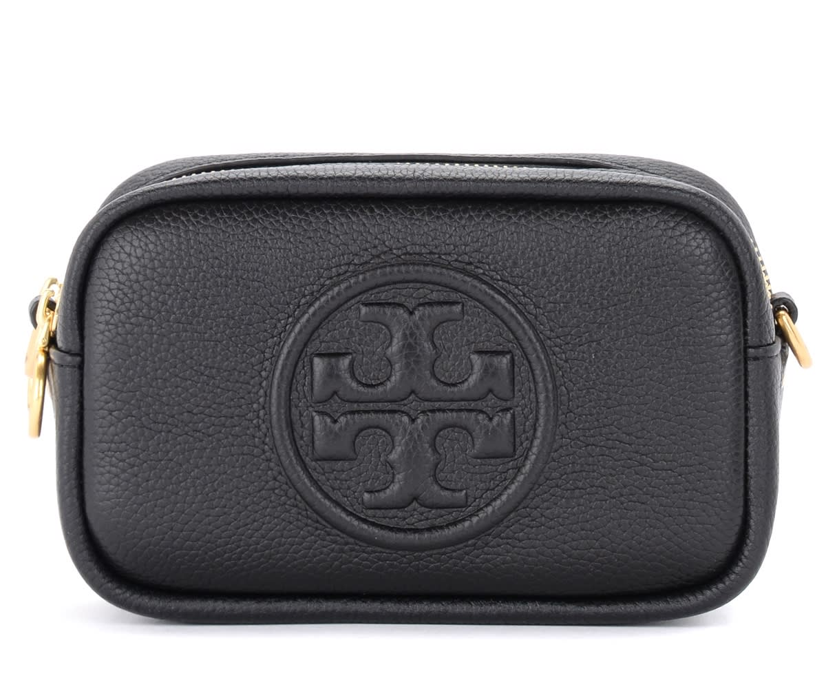 Tory Burch Perry Bombè Shoulder Bag In Black Grained Leather