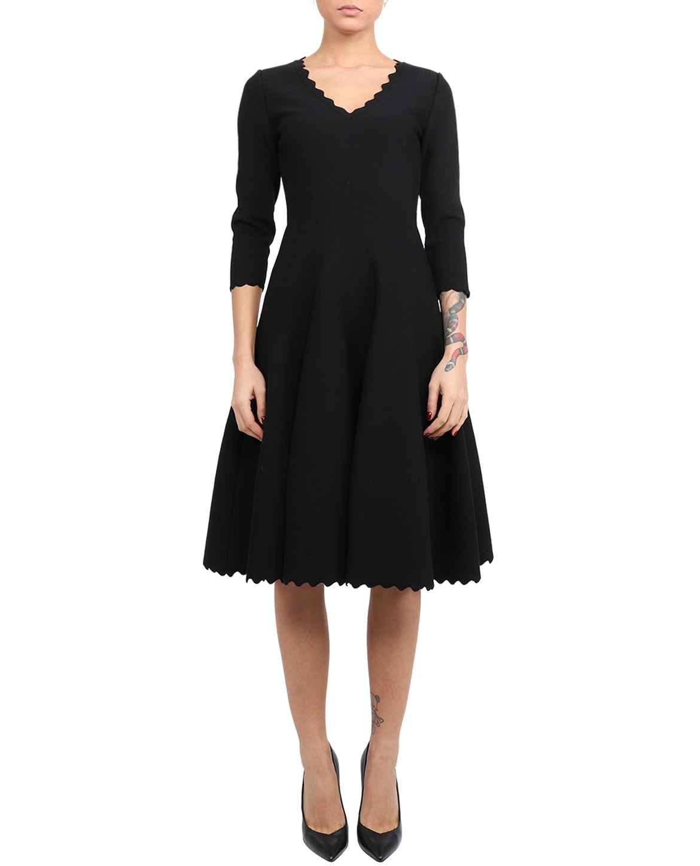Azzedine Alaia Black Scalloped Dress
