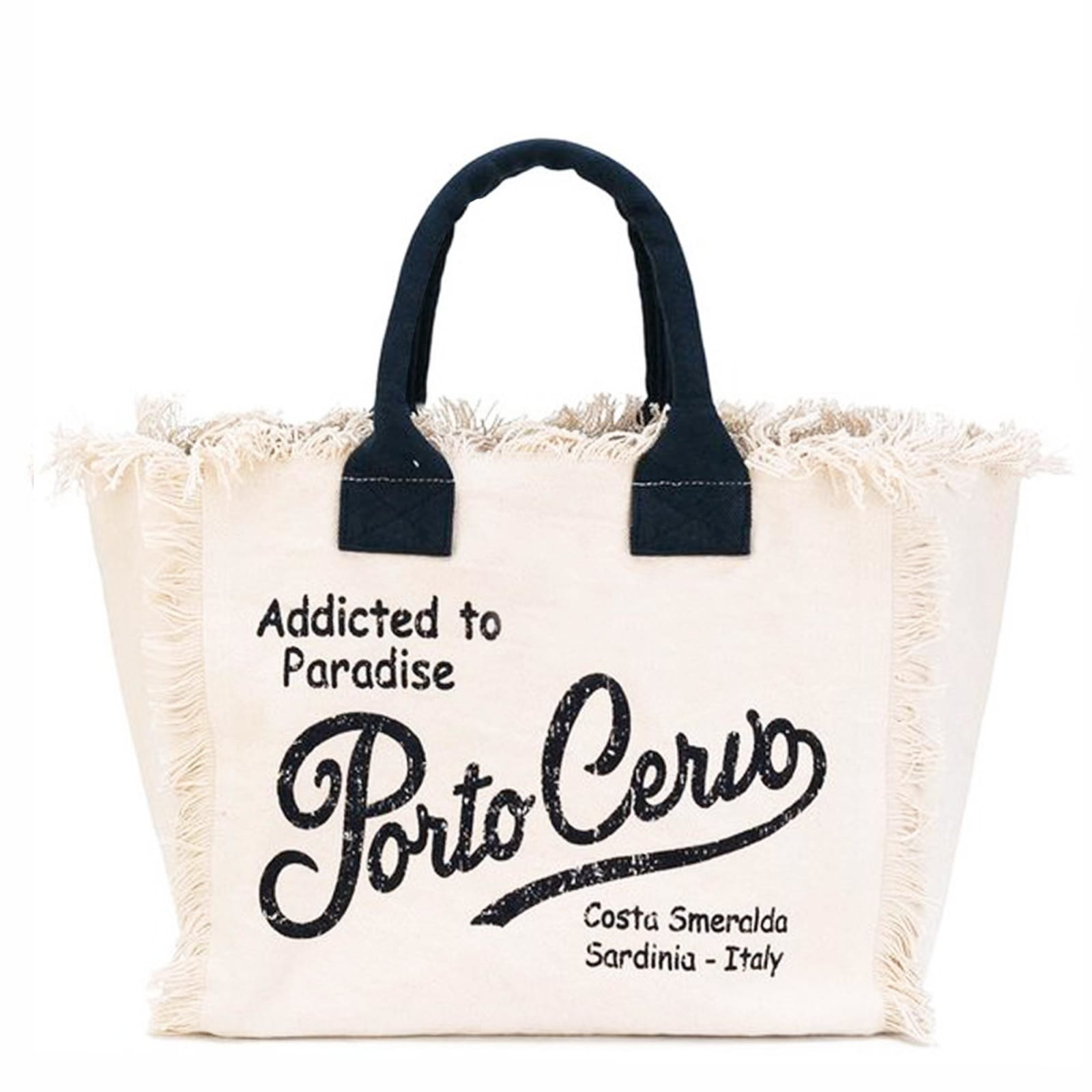 Natural Canvas Beach Bag - Porto Cervo Front Graphic