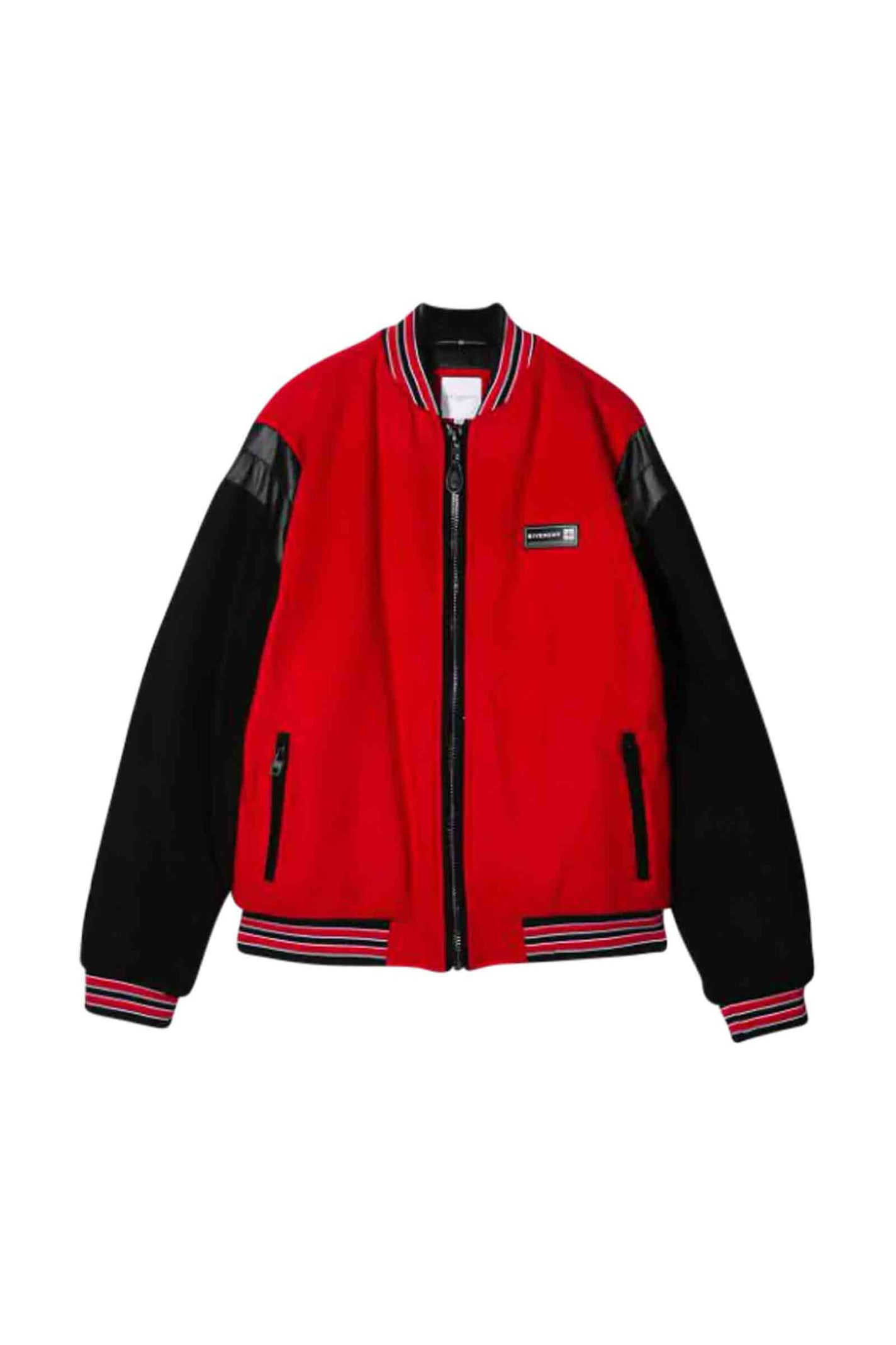 Givenchy Kids' Bomber Style Jacket With Embroidery In Nero/Rosso