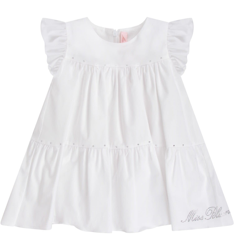 Buy Blumarine White Babygirl Dress With Rhinestoned Logo online, shop Blumarine with free shipping