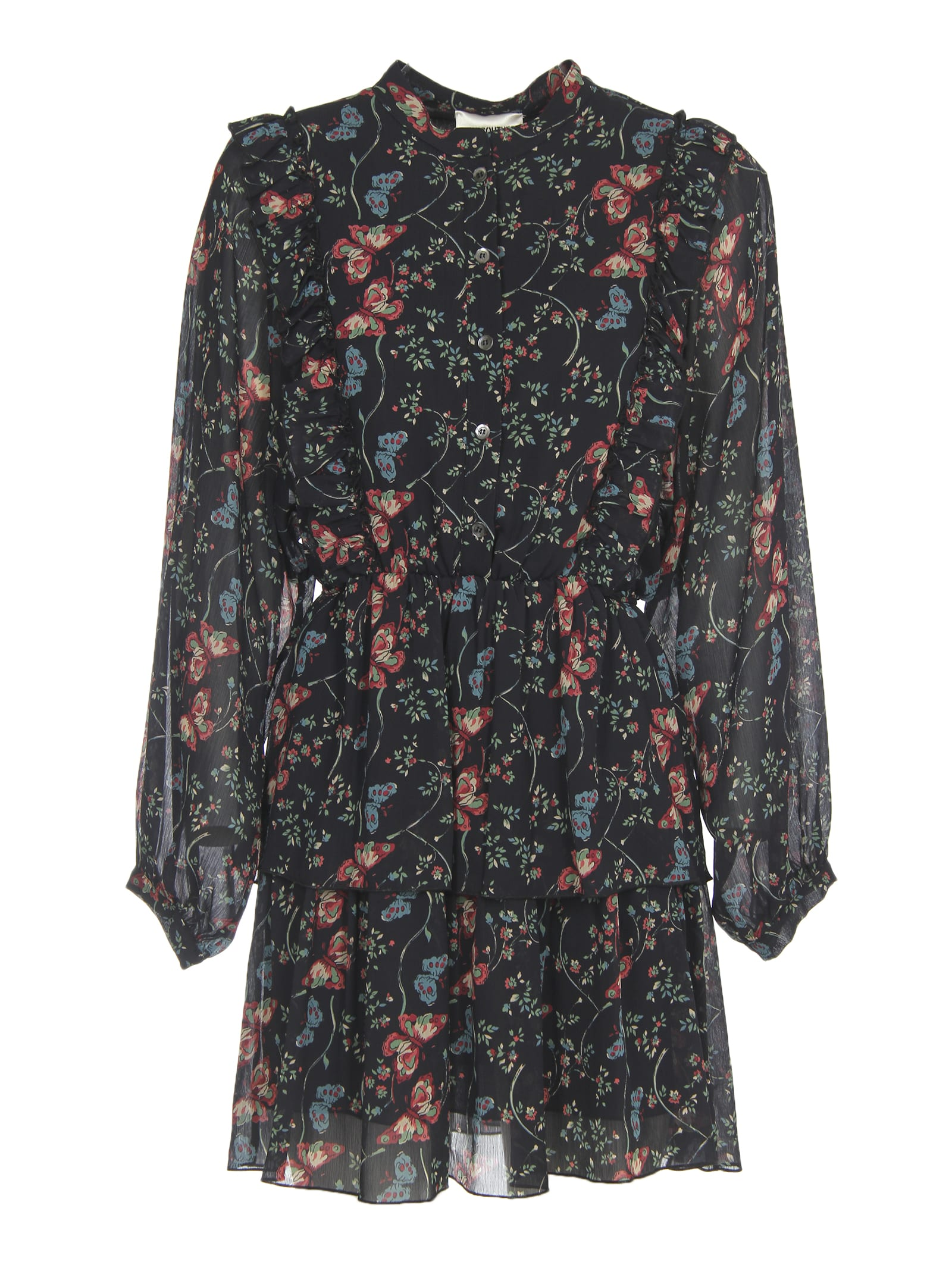 SEMICOUTURE Floral And Butterflies Print Dress