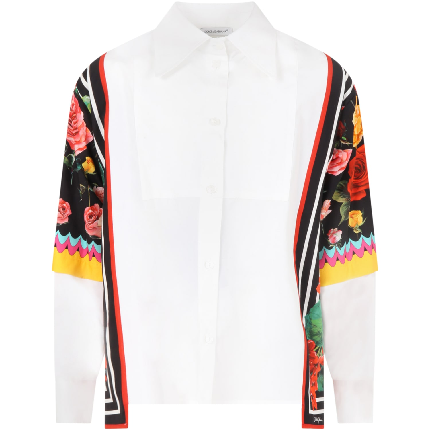 Dolce & Gabbana WHITE SHIRT FOR GIRL WITH ICONIC FLOWERS