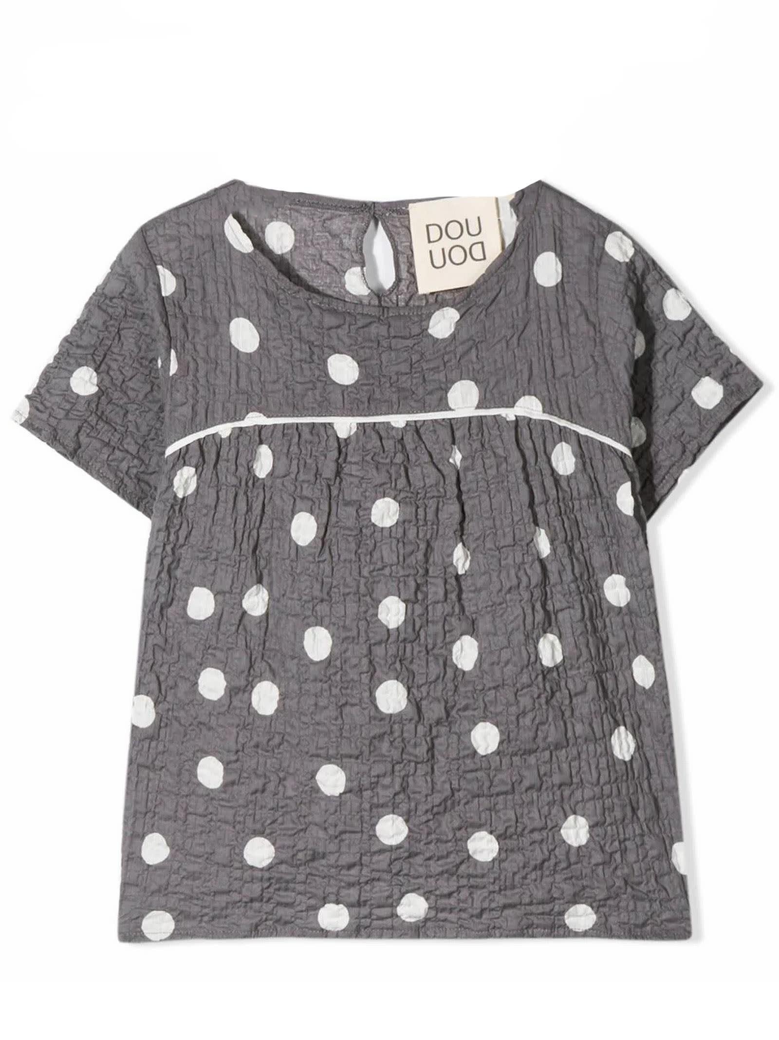 Grey Stretch Cotton Tunic Top