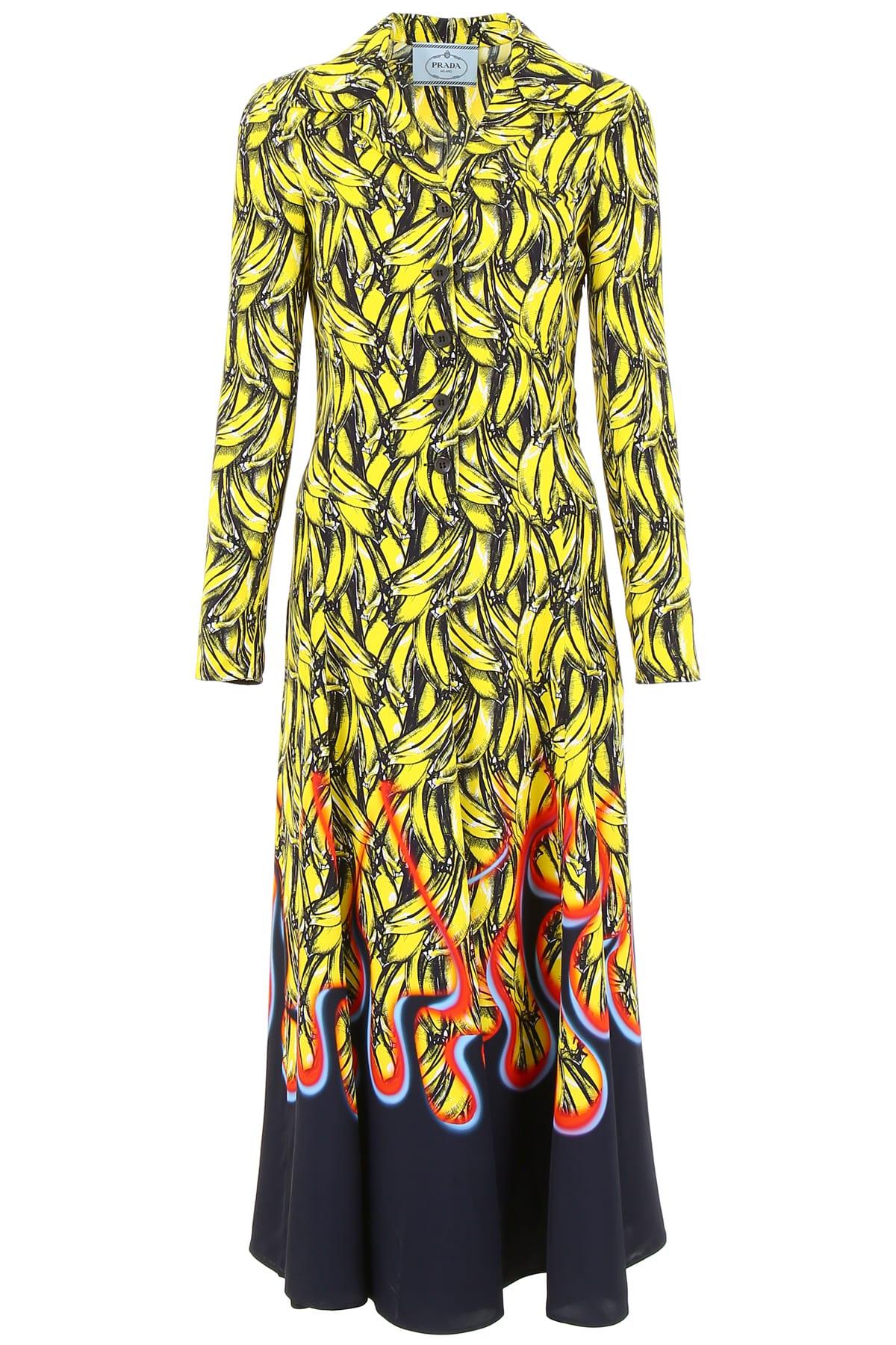 Prada Bananas And Flames Dress