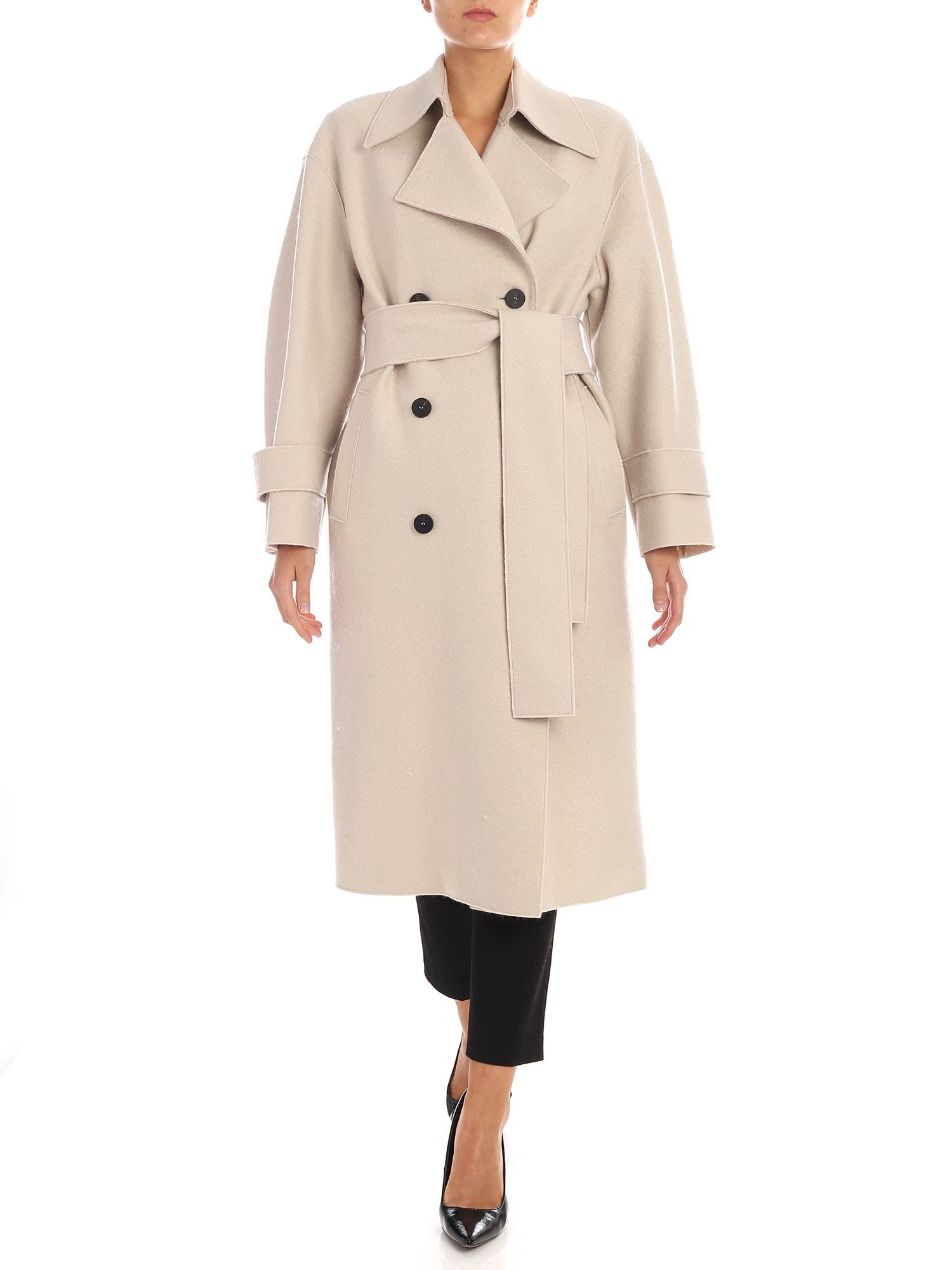 Harris Wharf London – Double-breasted Coat With Fleece Lining