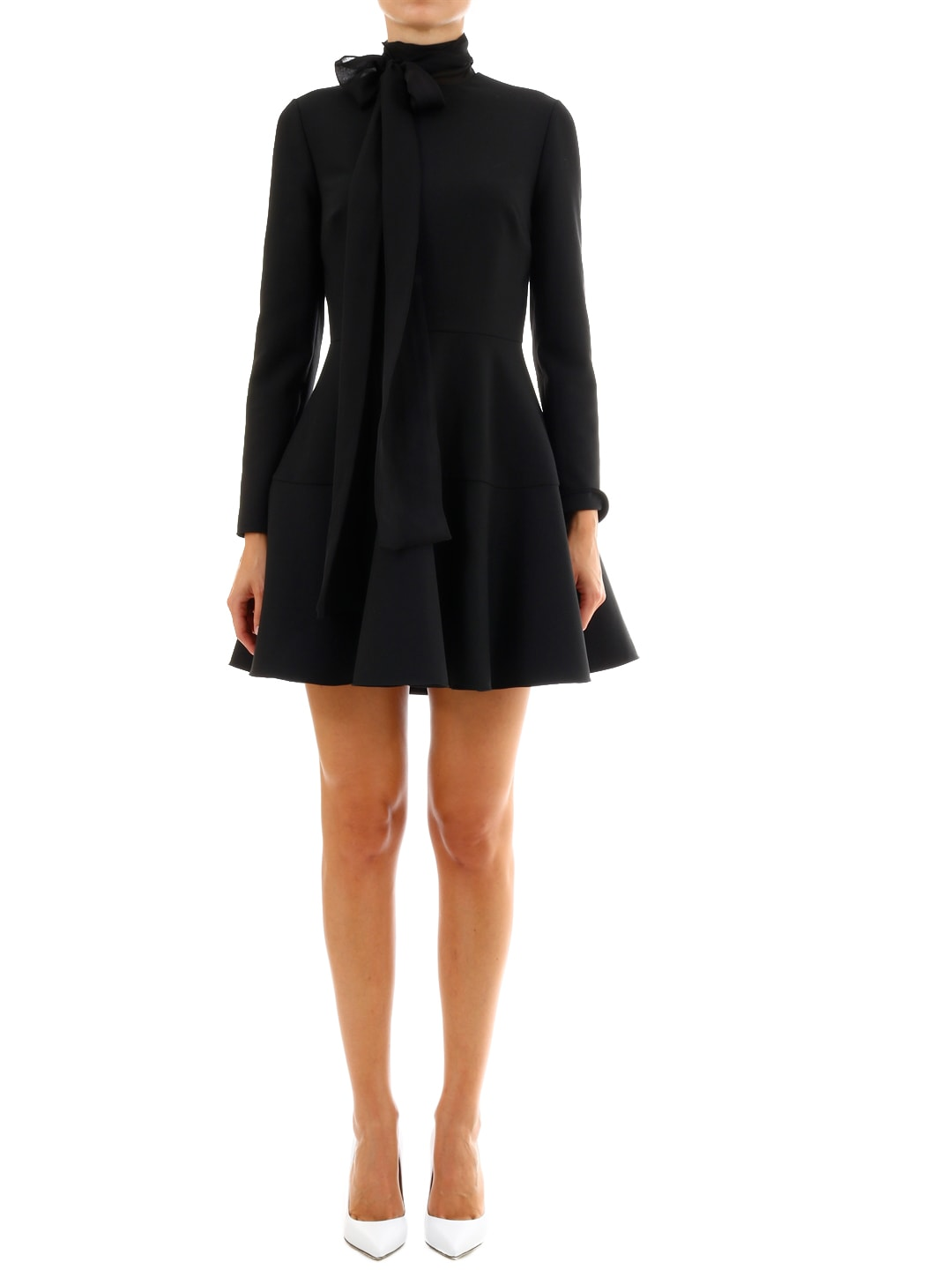 Valentino Dress In Techno Double Wool And Chiffon