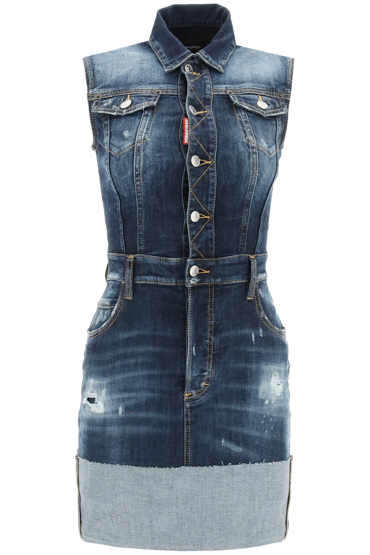 Buy Dsquared2 Denim Mini Dress online, shop Dsquared2 with free shipping