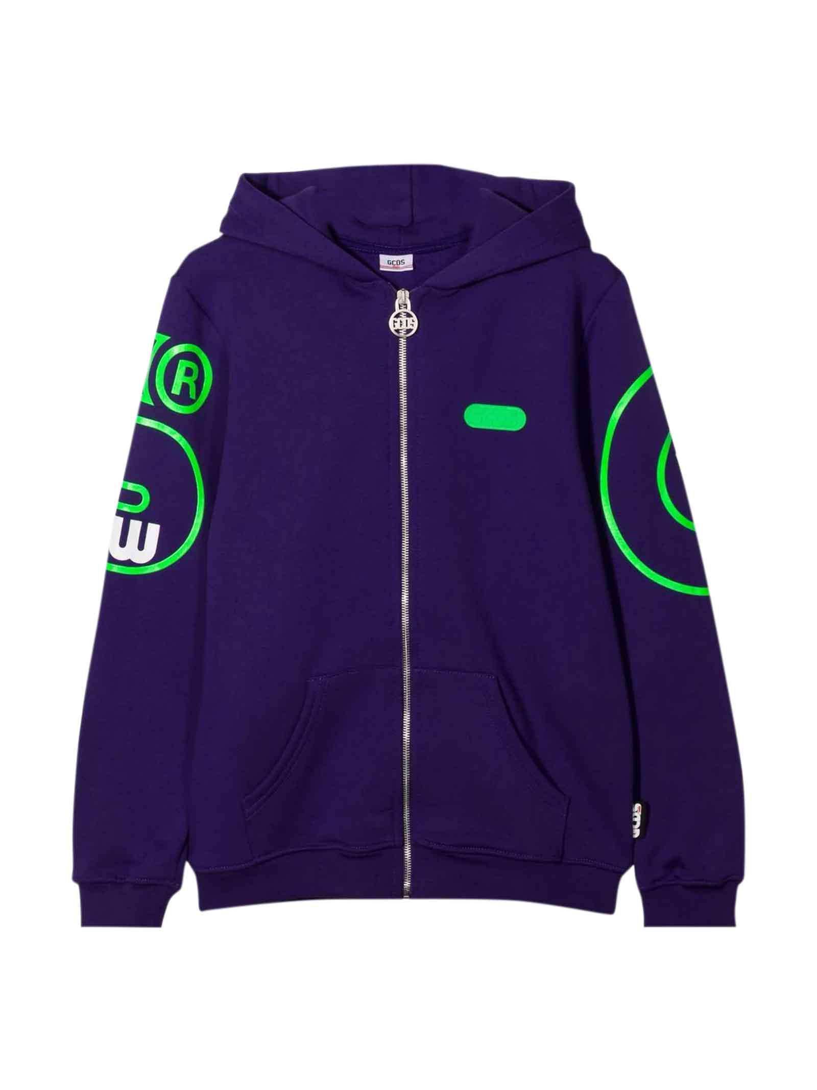 Purple Sweatshirt With Green Print