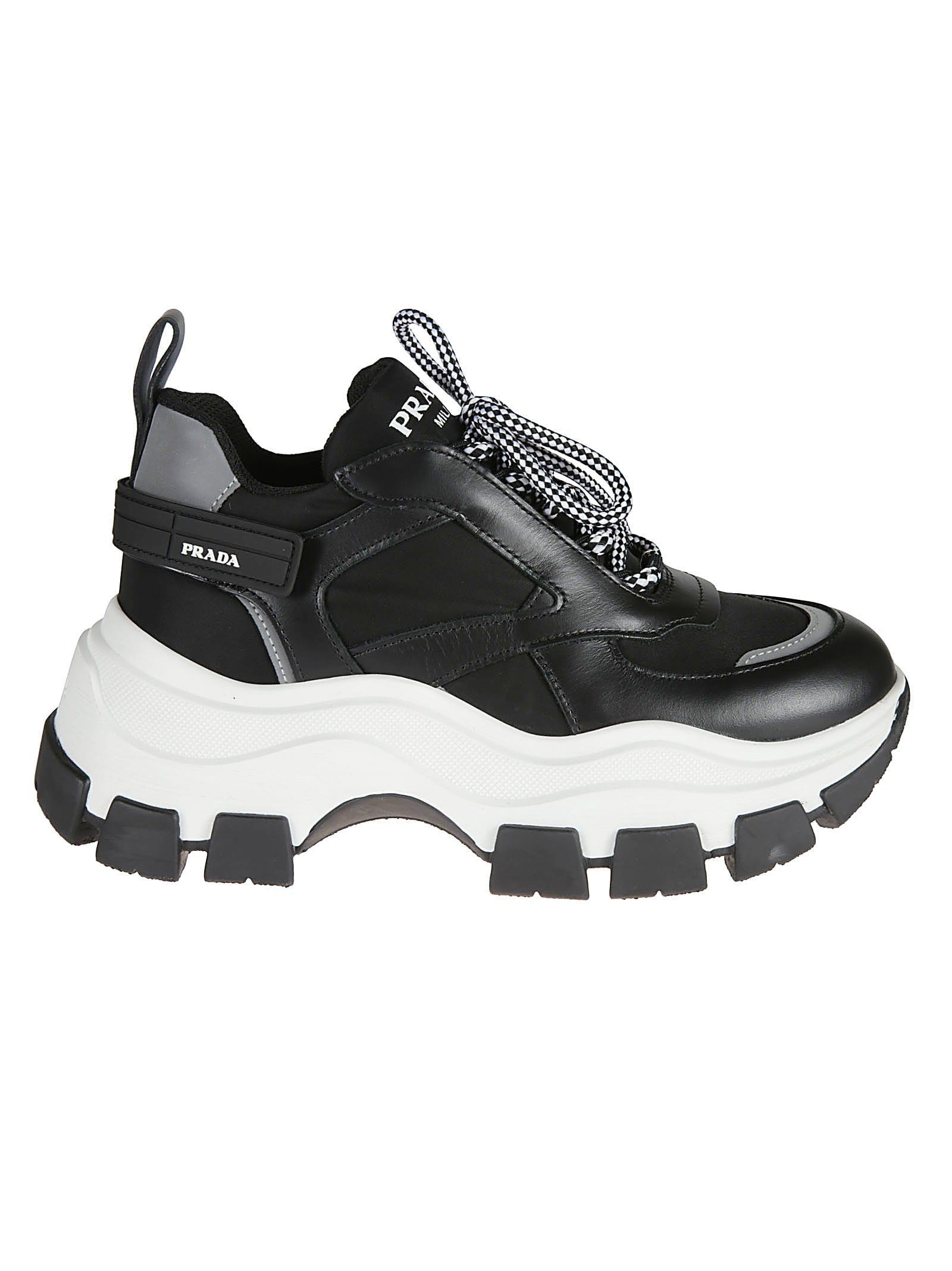 buy online c5776 32a01 Prada Logo Platform Sneakers
