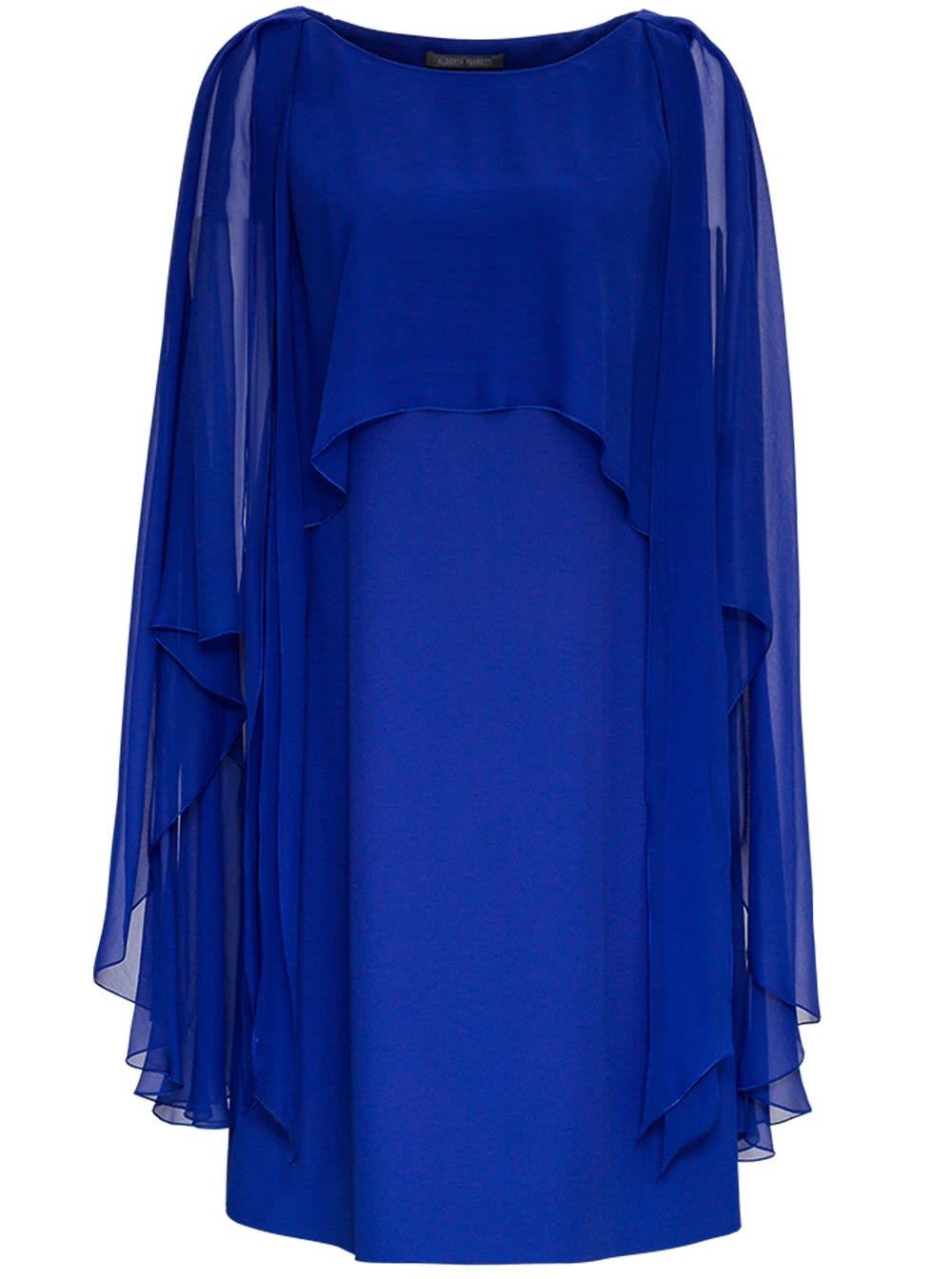 Alberta Ferretti Blue Satin Cape Dress