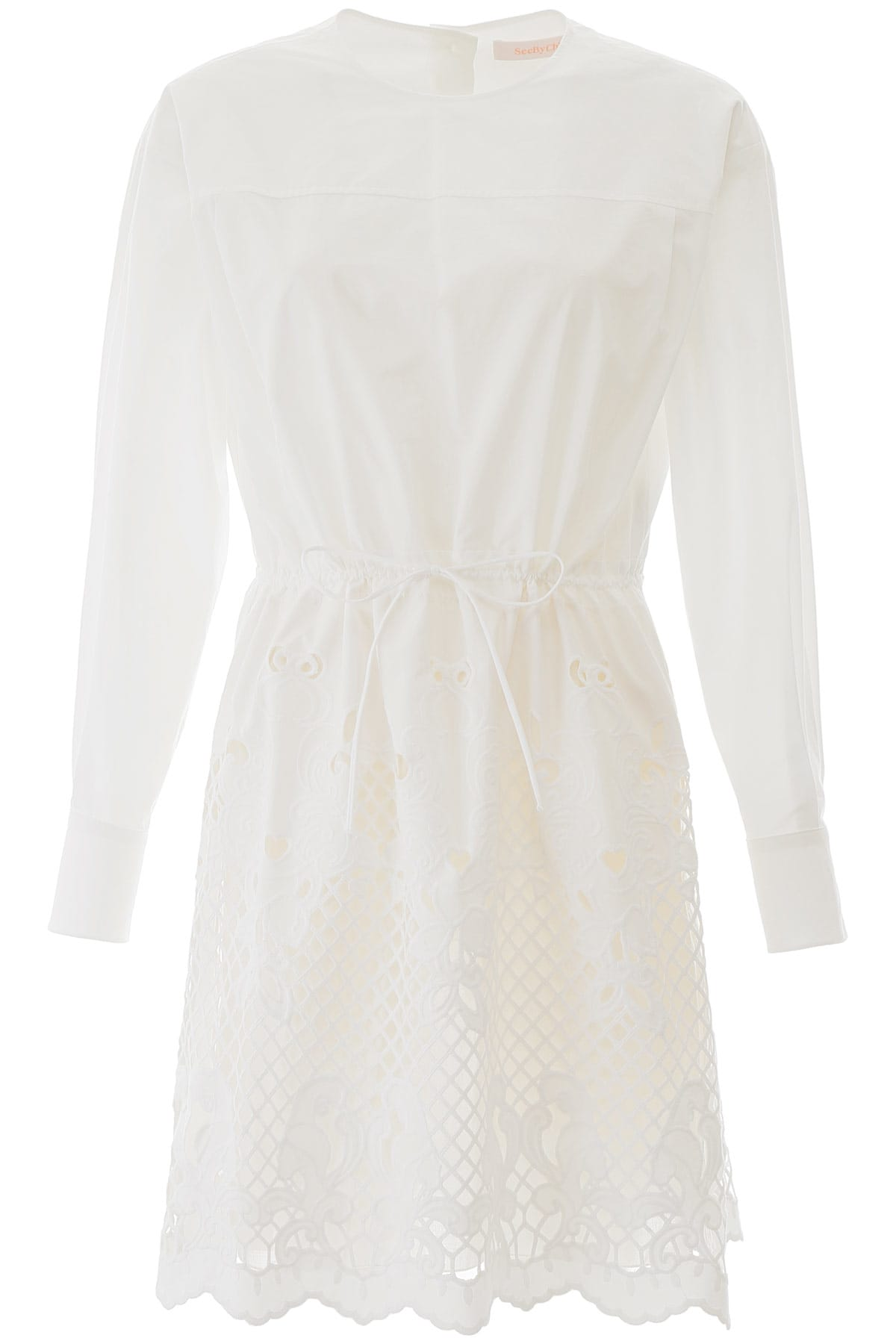 Buy See by Chloé Dress With Lace Hem online, shop See by Chloé with free shipping