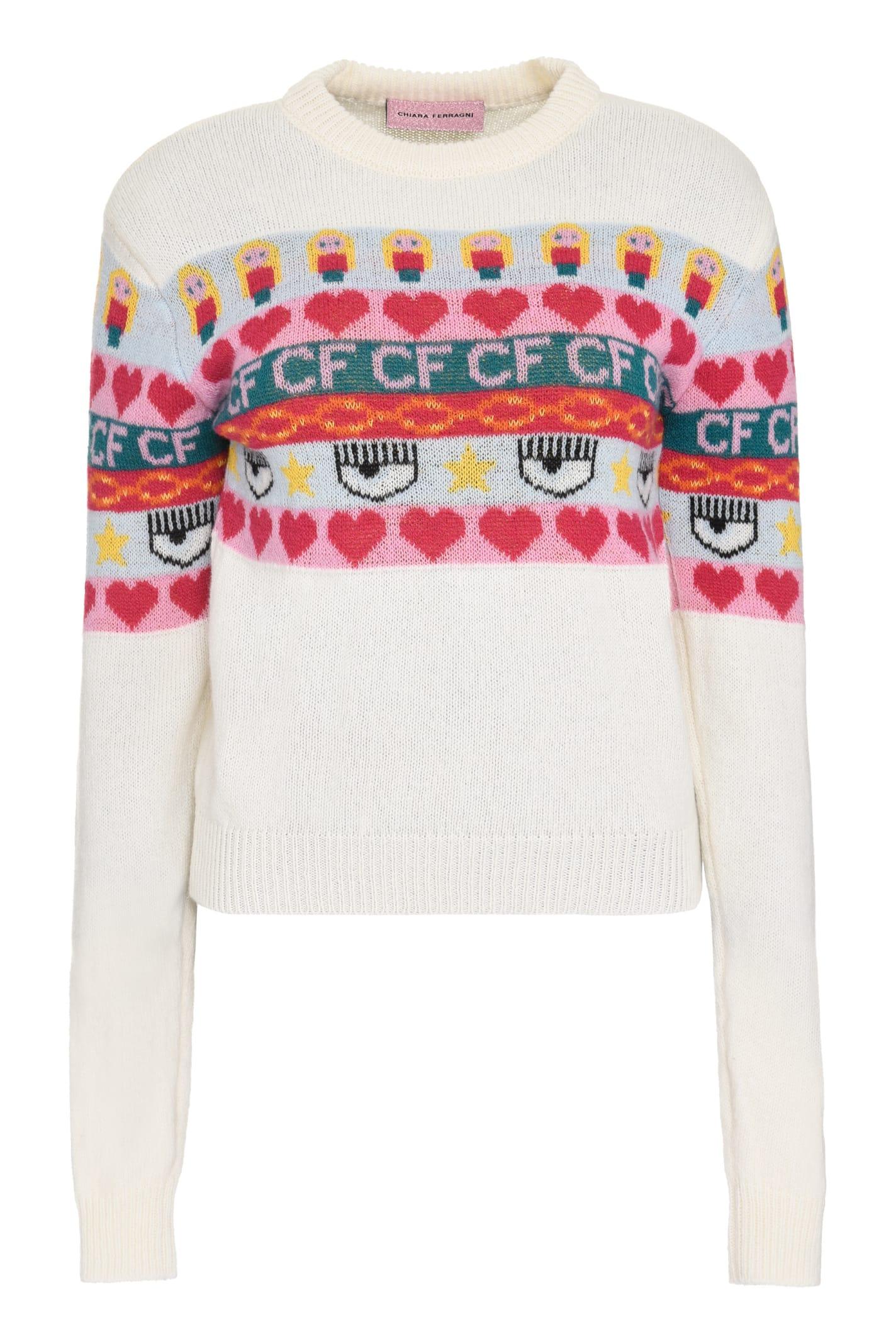Chiara Ferragni Intarsia Wool And Cashmere Blend Sweater
